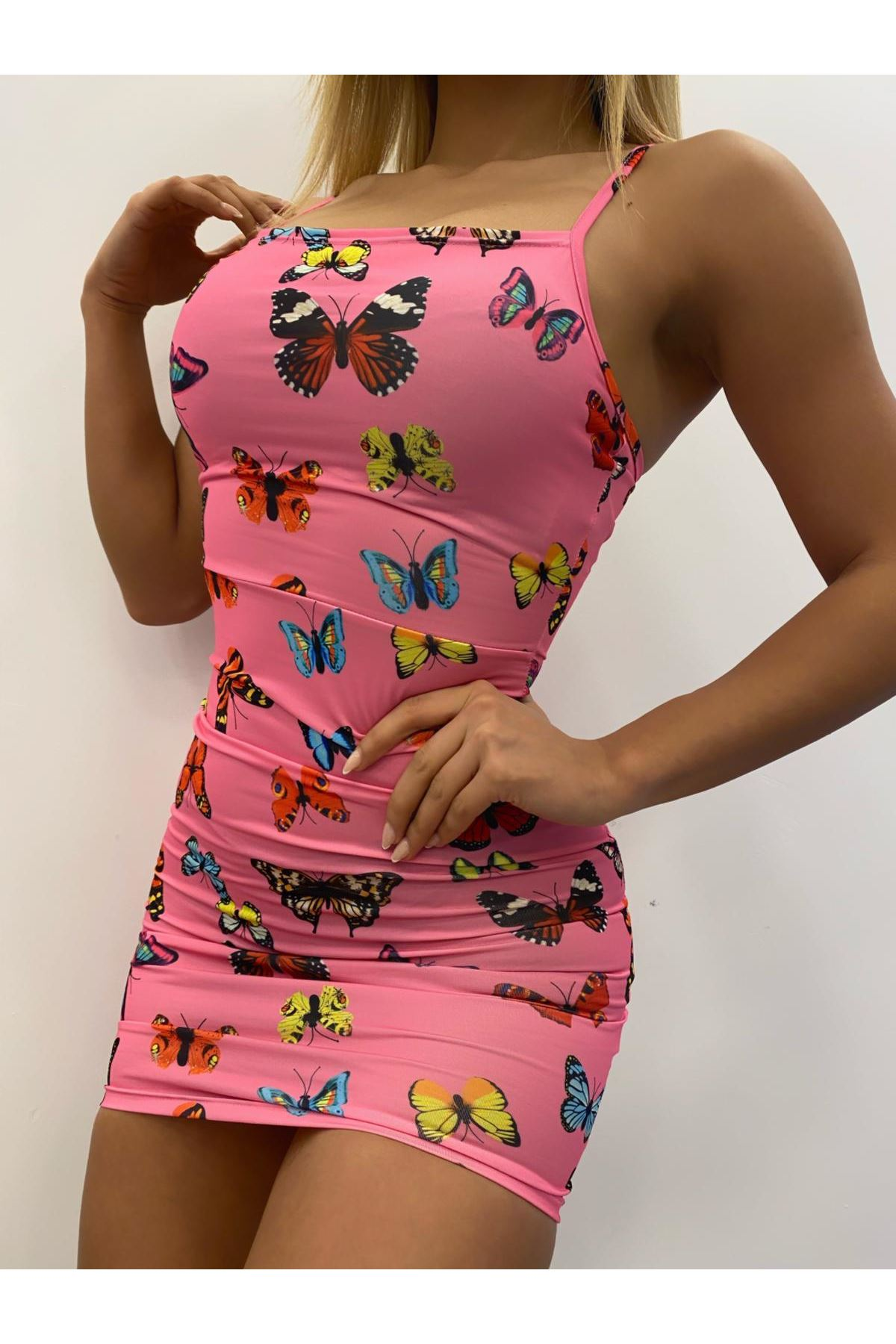 Dijital Kelebek Baskılı Askılı Elbise - PUDRA