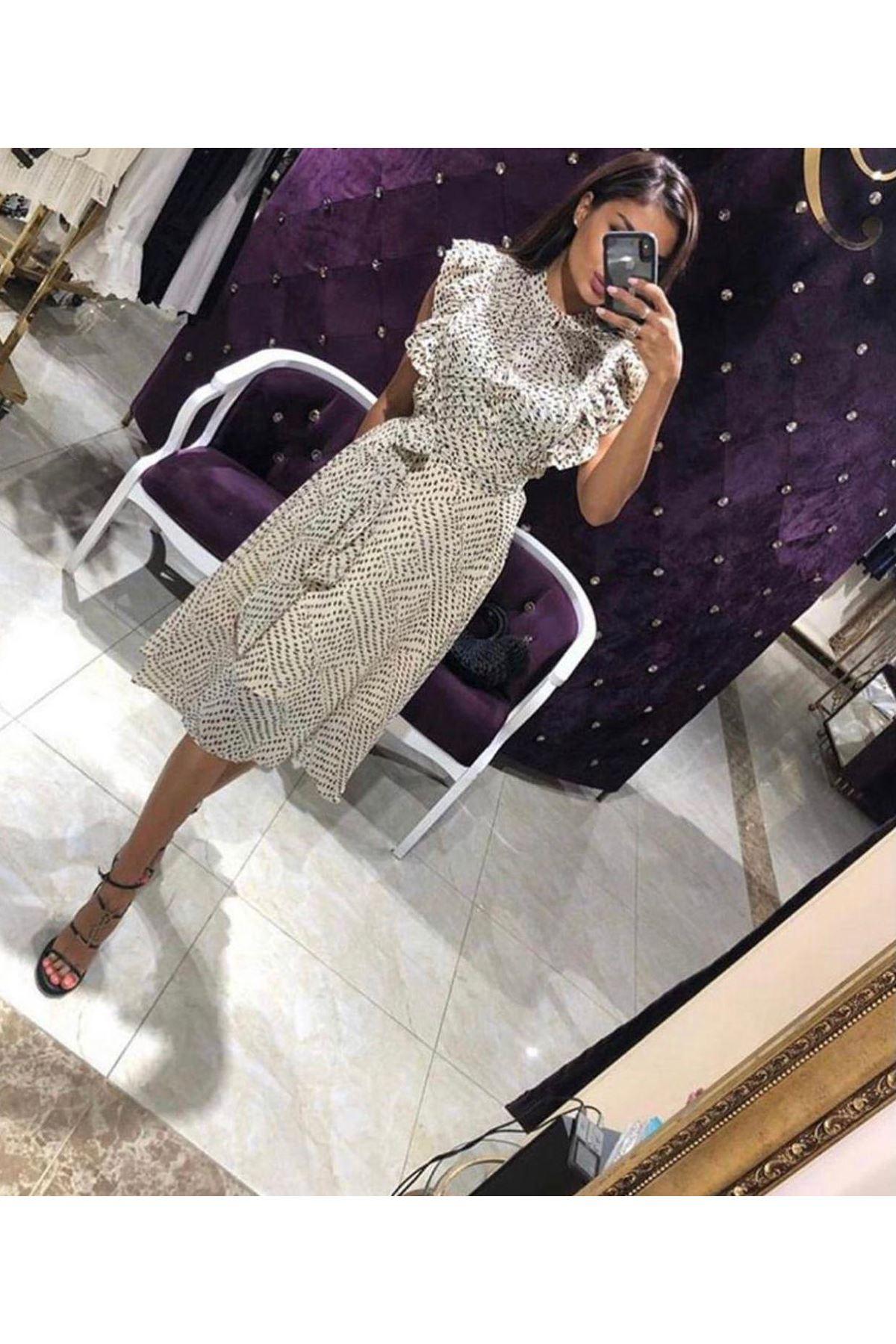 Volan Detaylı Şifon Elbise - EKRU