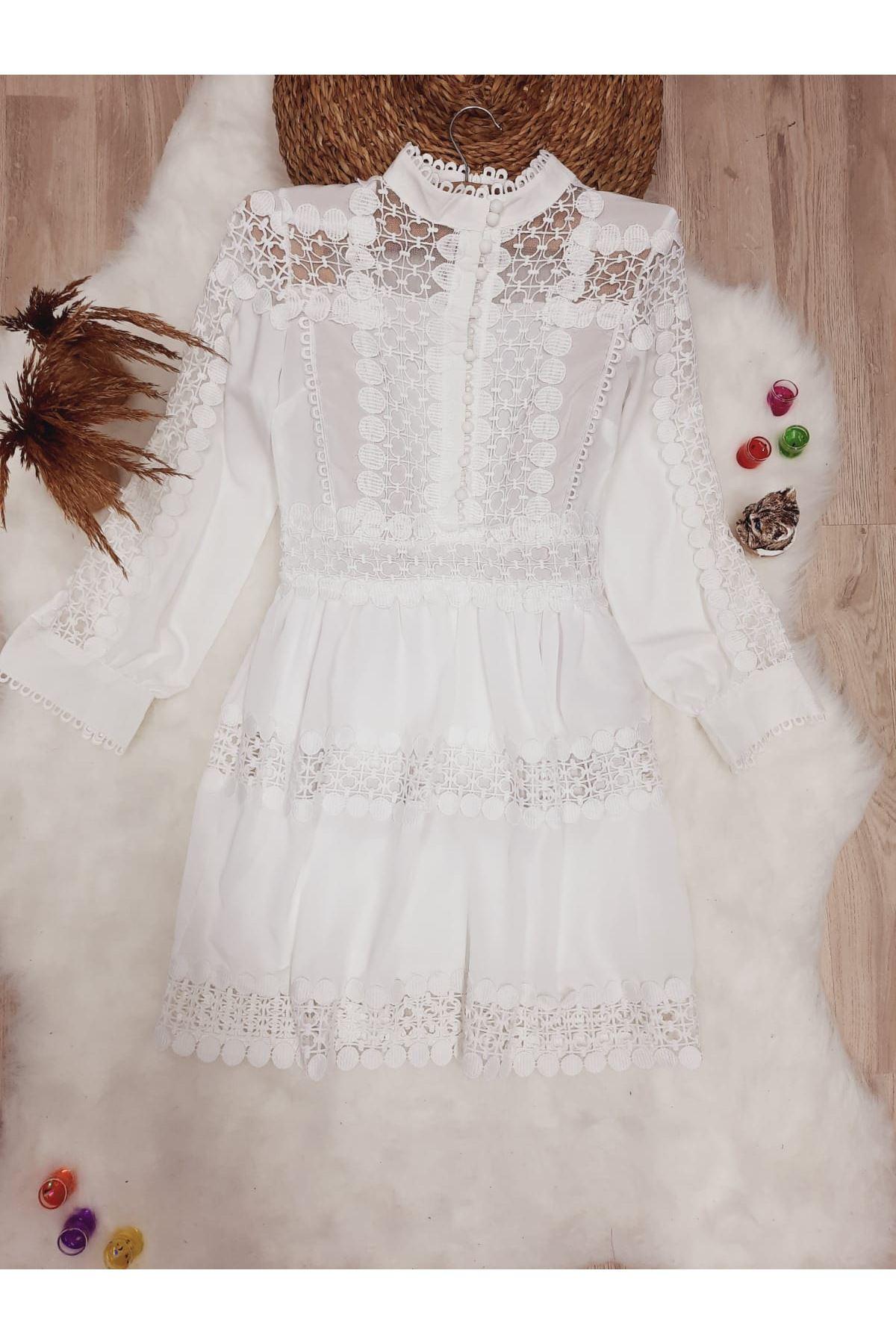 Dantel Detaylı Poplin Elbise - BEYAZ