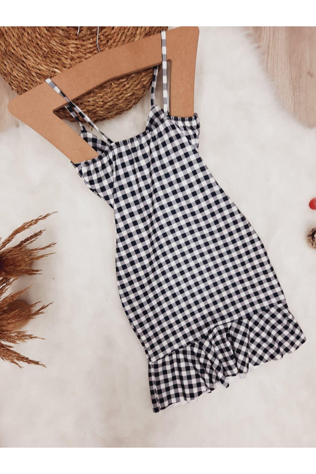 Ekose Desen Askılı Elbise - MULTİ