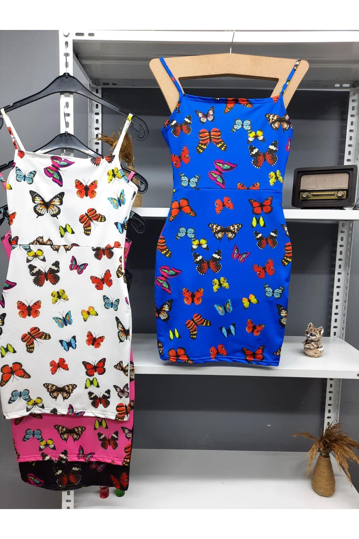 Dijital Kelebek Baskılı Askılı Elbise - MAVİ