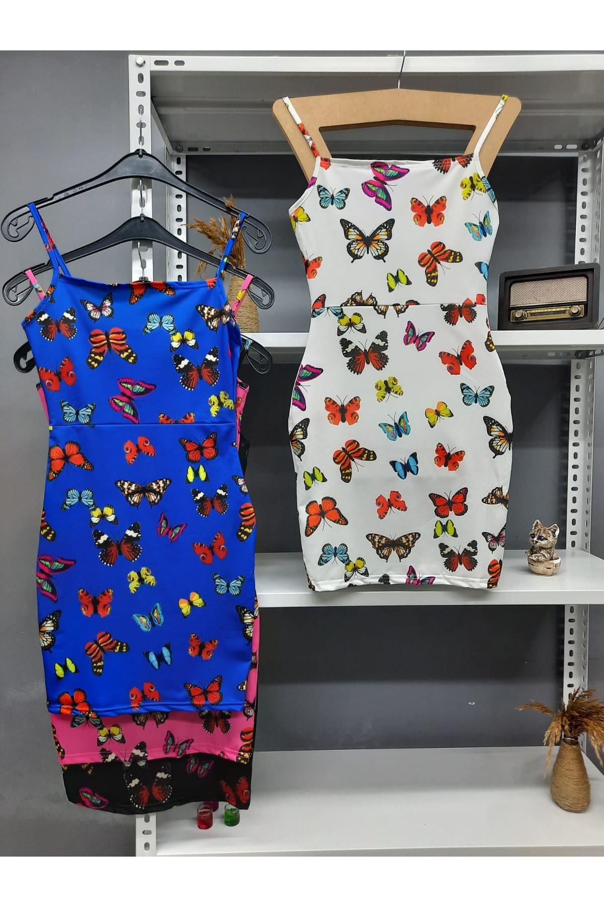 Dijital Kelebek Baskılı Askılı Elbise - BEYAZ