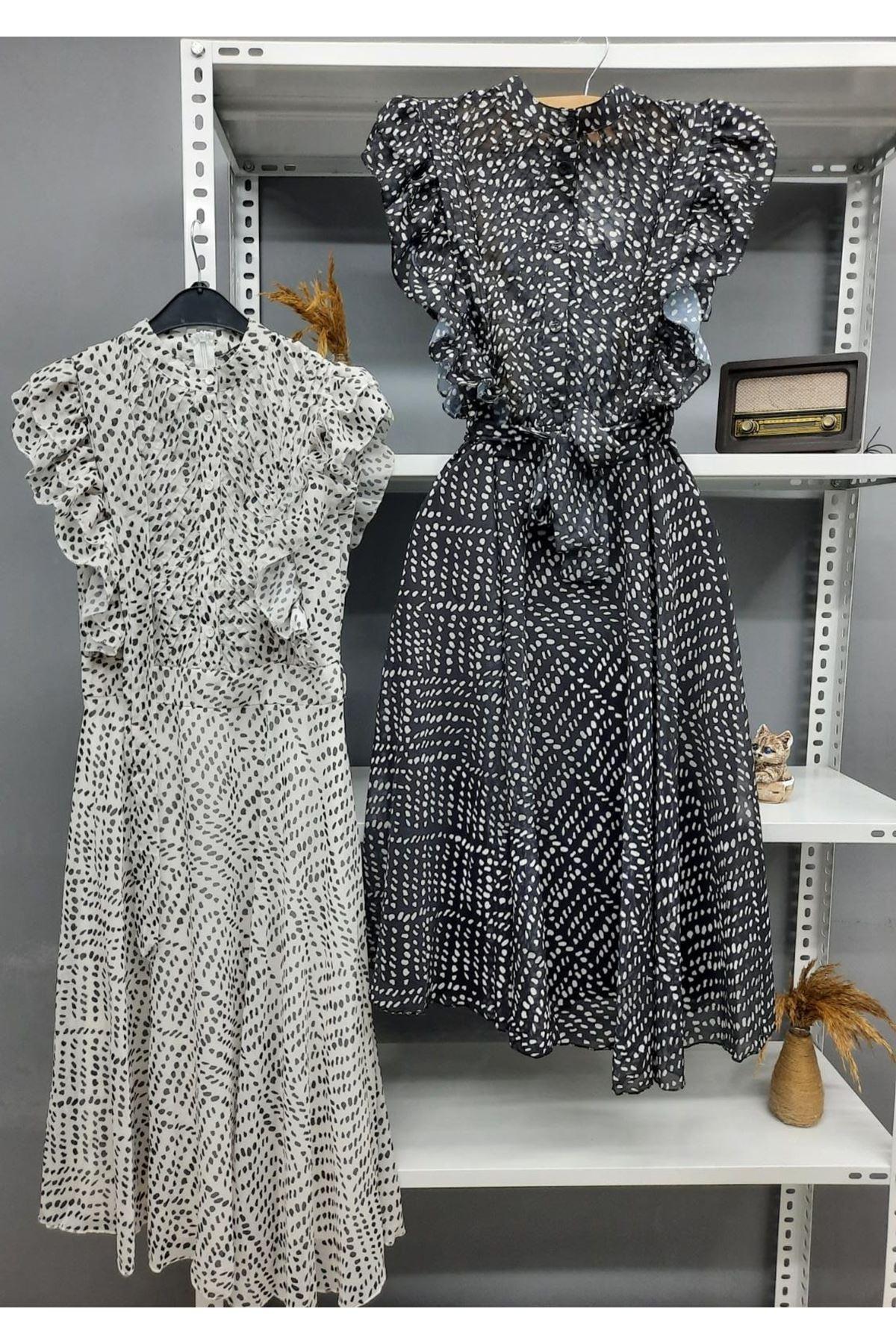 Volan Detaylı Şifon Elbise - SİYAH