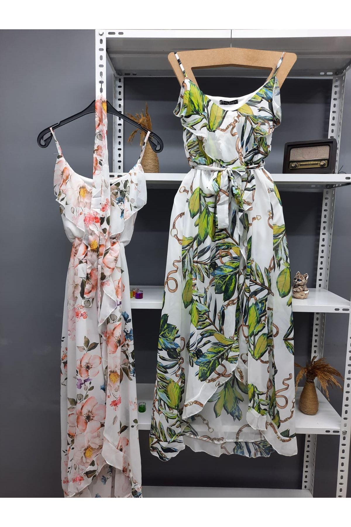 Volan Detaylı Astarlı İthal Şifon Elbise - YEŞİL