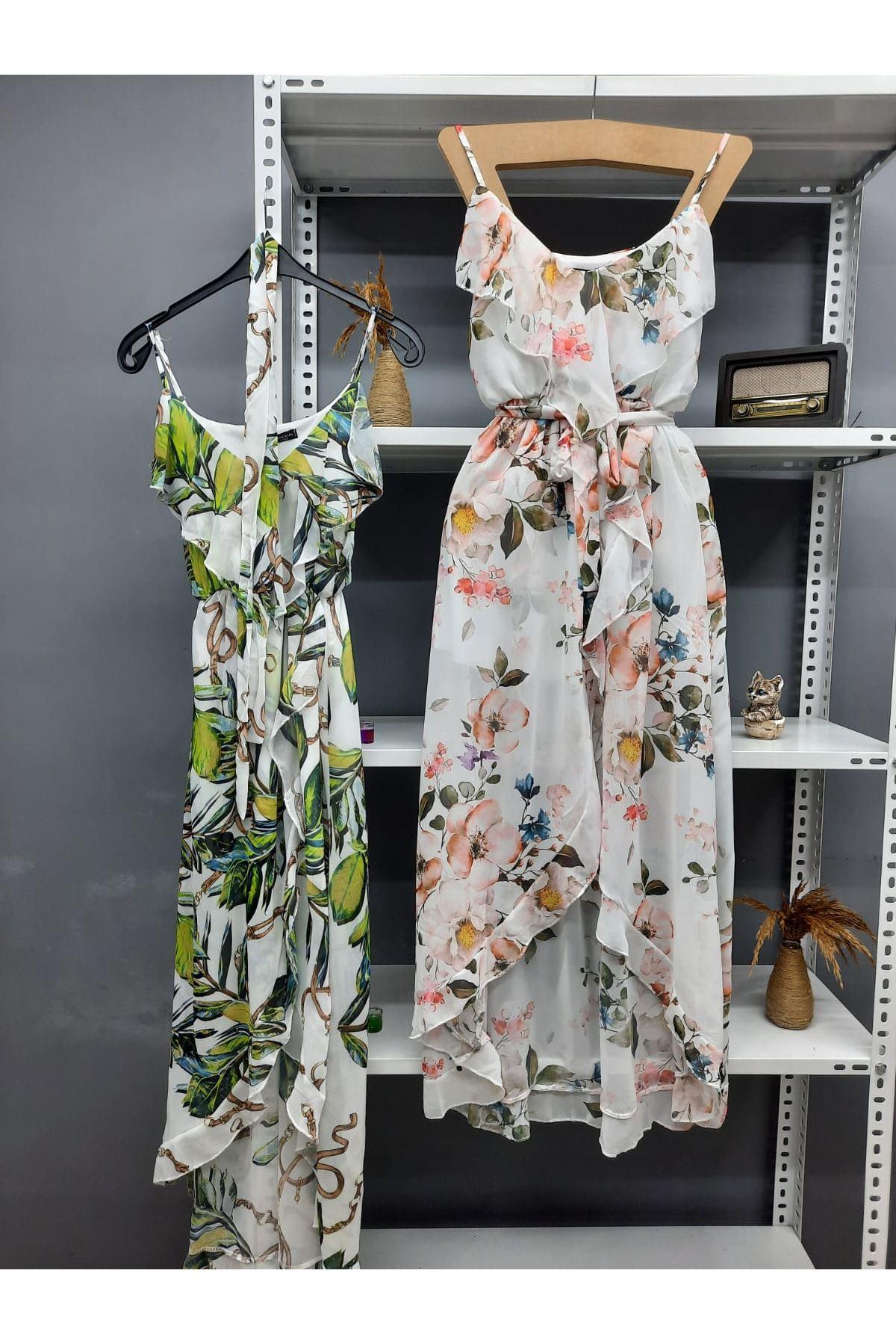 Volan Detaylı Astarlı İthal Şifon Elbise - BEYAZ