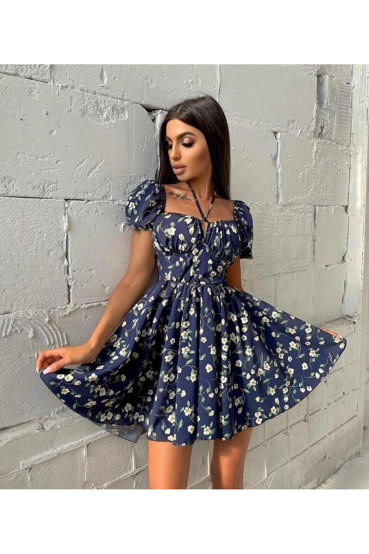 Boyun Askılı Dijital Baskılı Elbise - LACİ