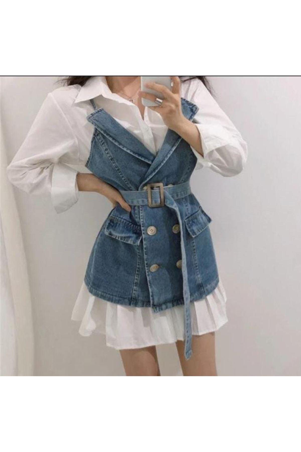 Jean Kombinli Gömlek Elbise - MAVİ
