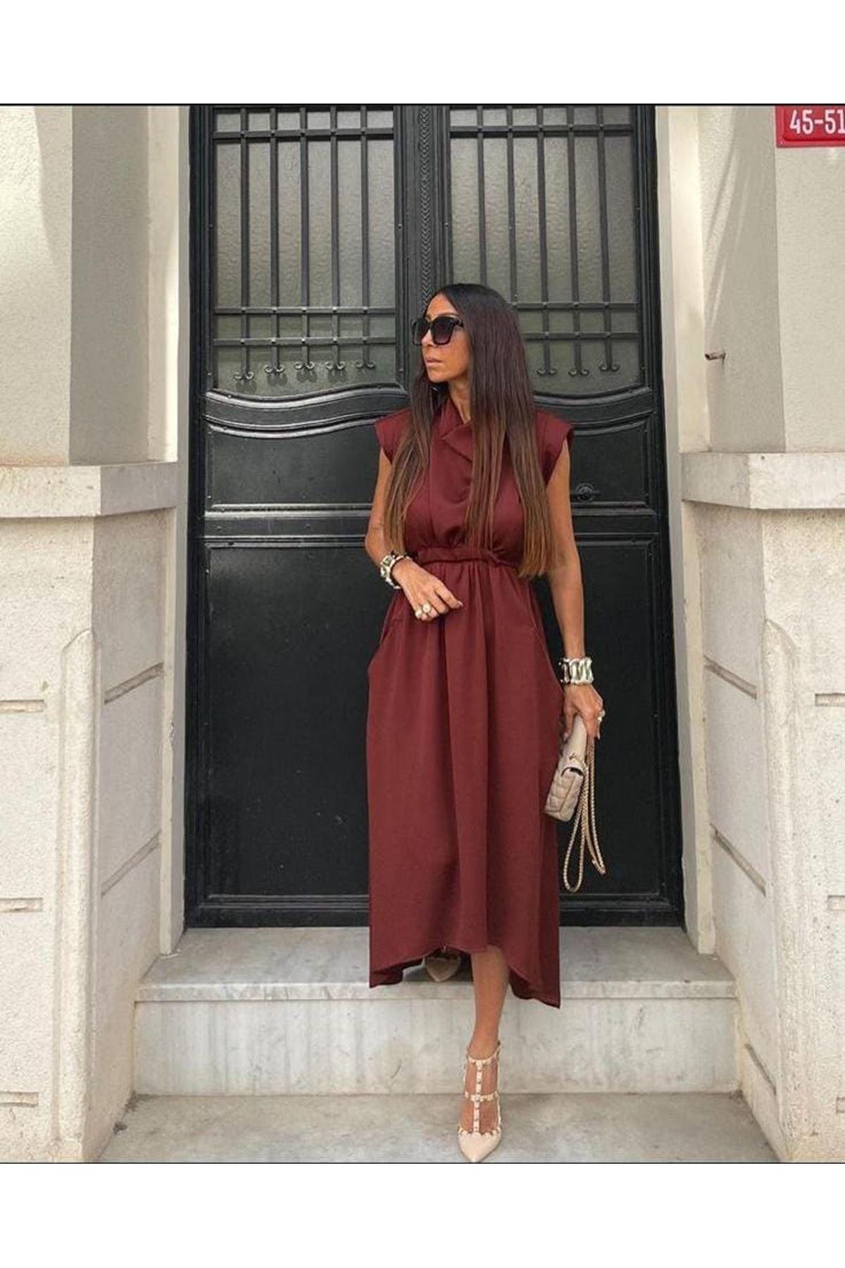 Omuz Vatkalı Saten Elbise - BORDO