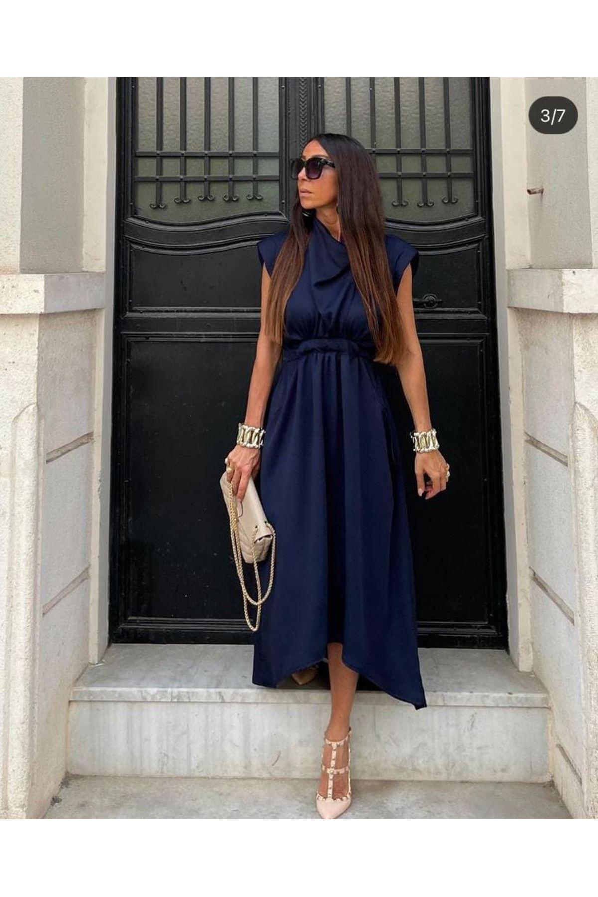 Omuz Vatkalı Saten Elbise - LACİ