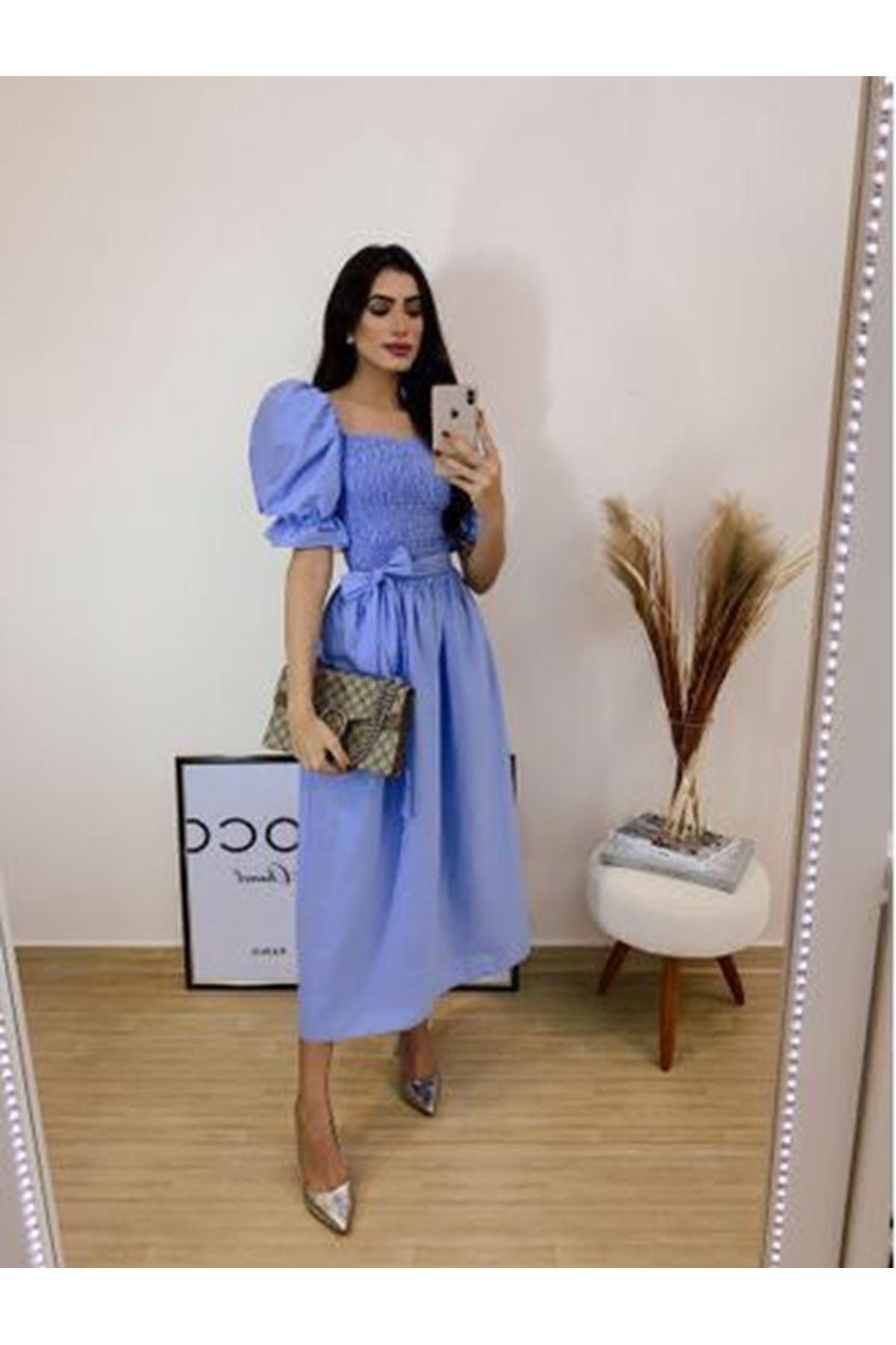U Yaka Gipeli Prenses Omuz Elbise - MAVİ