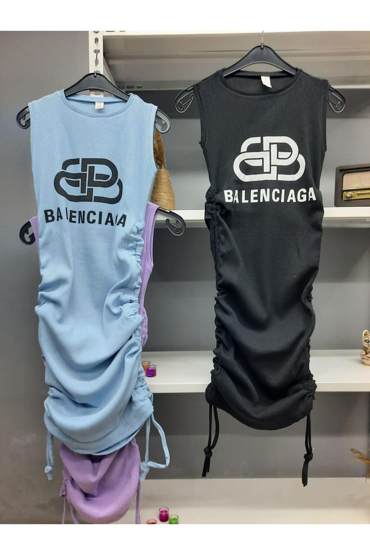 BB Model Büzgü Detaylı Elbise - SİYAH