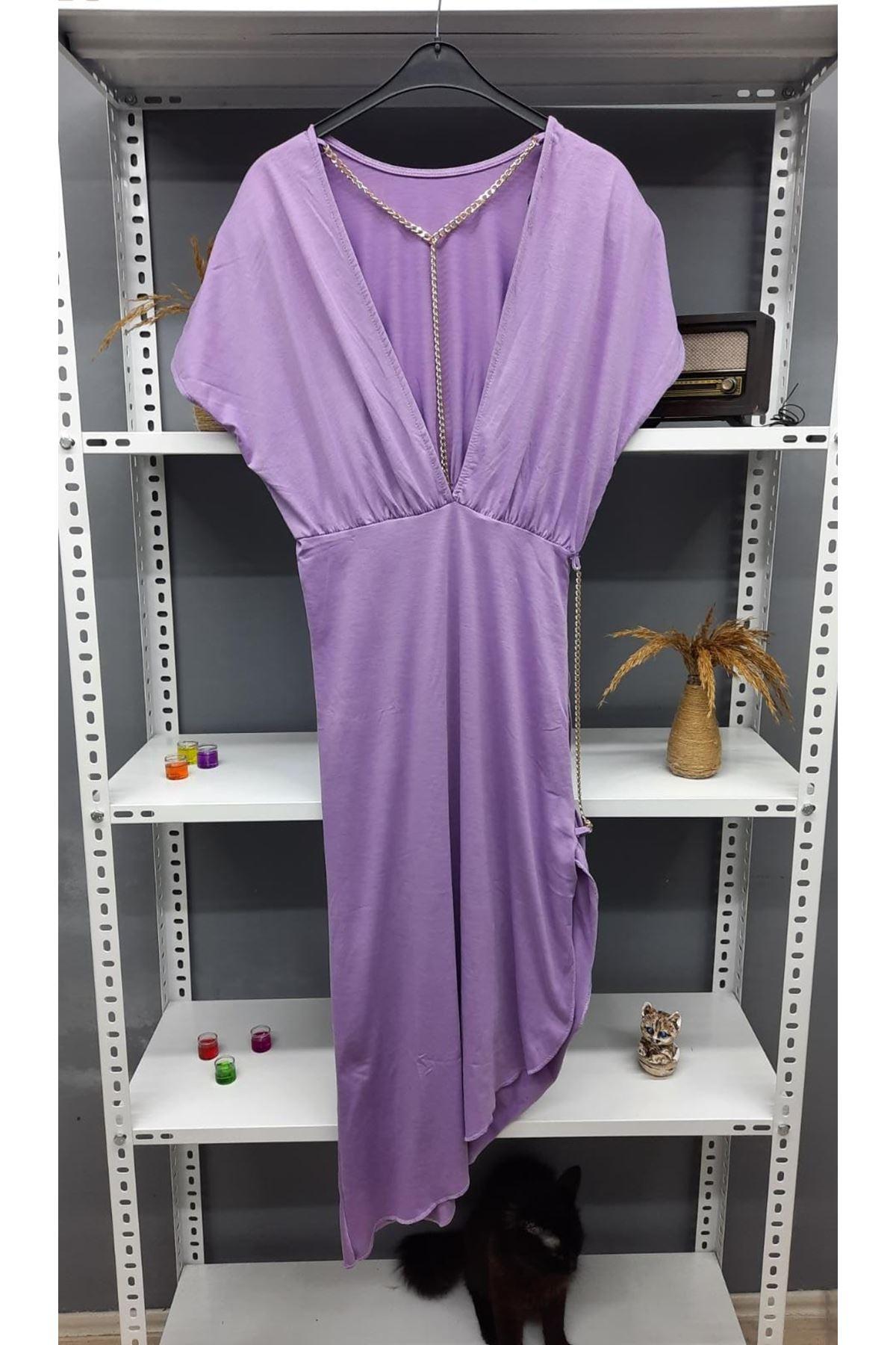 Zincir Detaylı Sırtı Açık Viskon Elbise - LİLA
