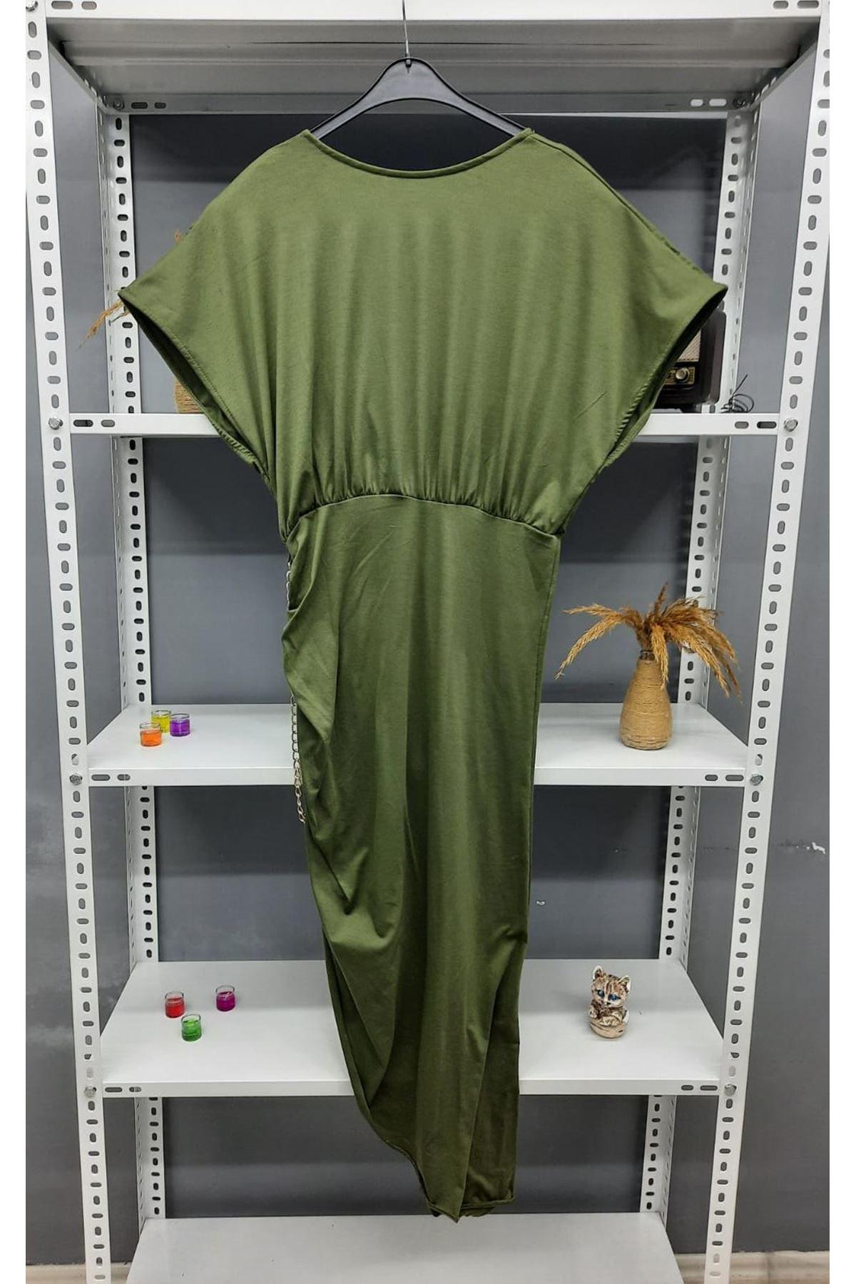 Zincir Detaylı Sırtı Açık Viskon Elbise - HAKİ