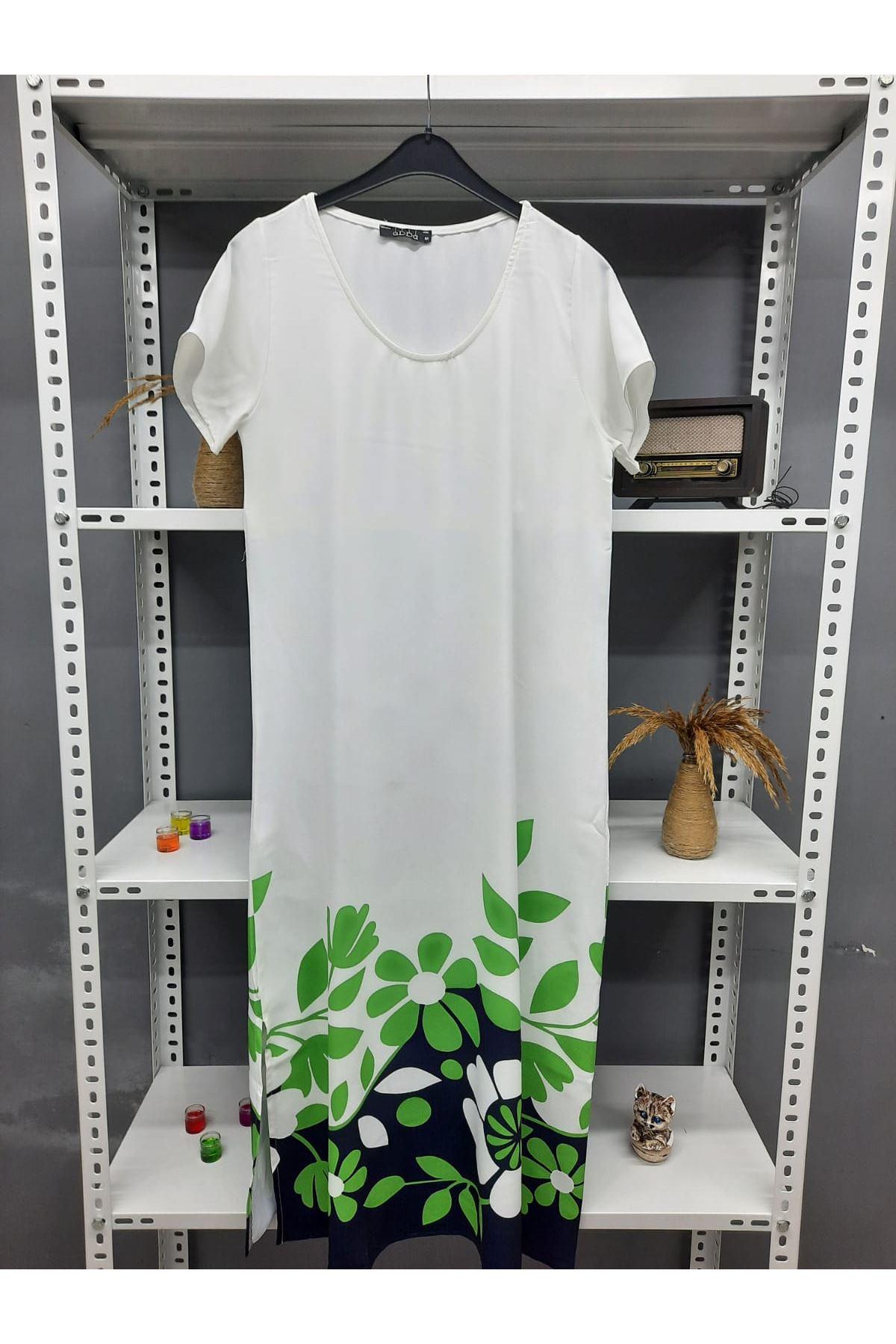 Yırtmaç Detaylı Baskılı Maxi Elbise - BEYAZ