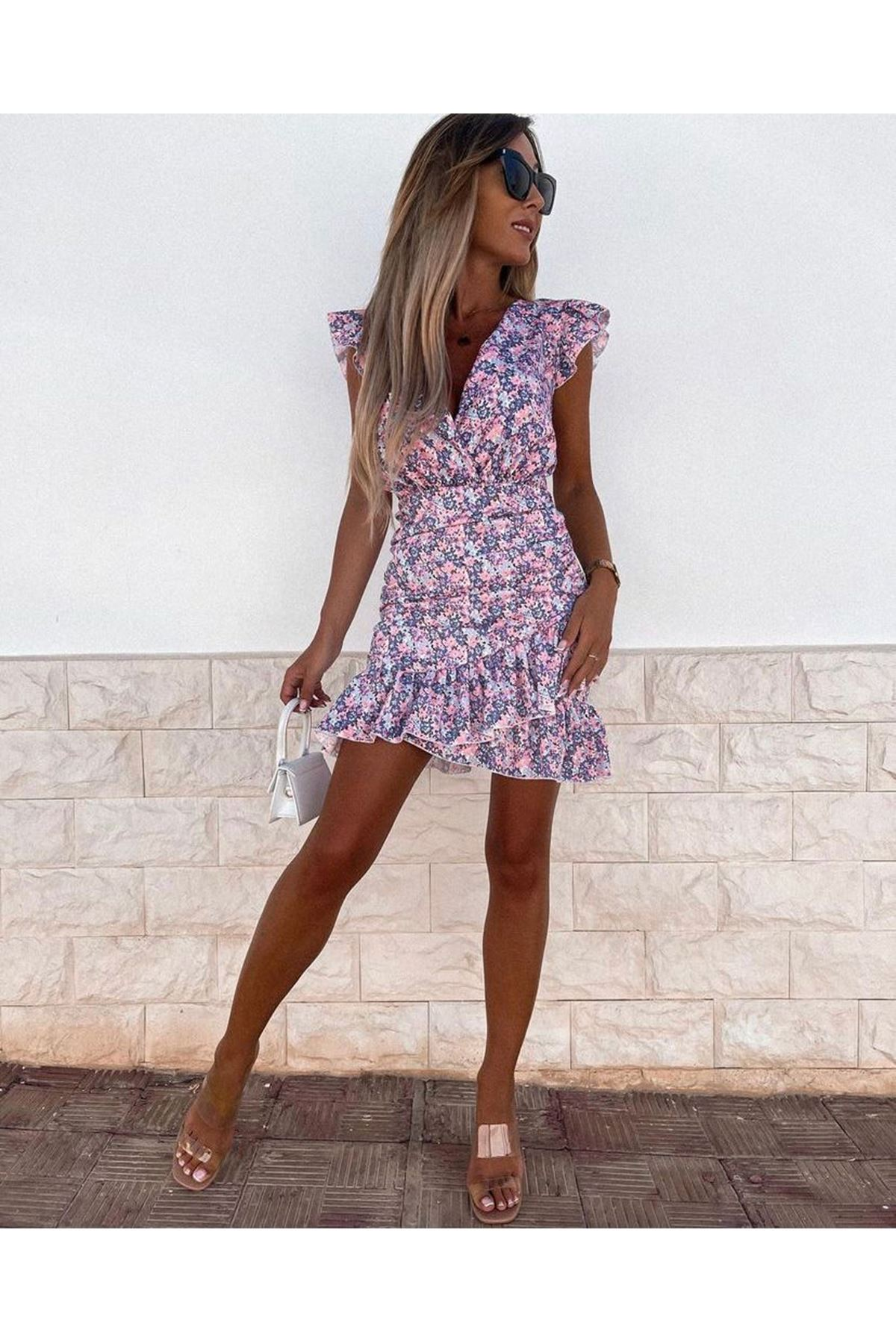 V Yaka Volanlı Şifon Elbise - LİLA