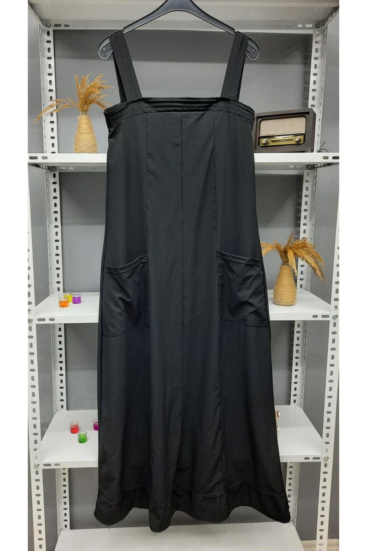 Cep Detaylı Vual Dokuma Elbise - SİYAH