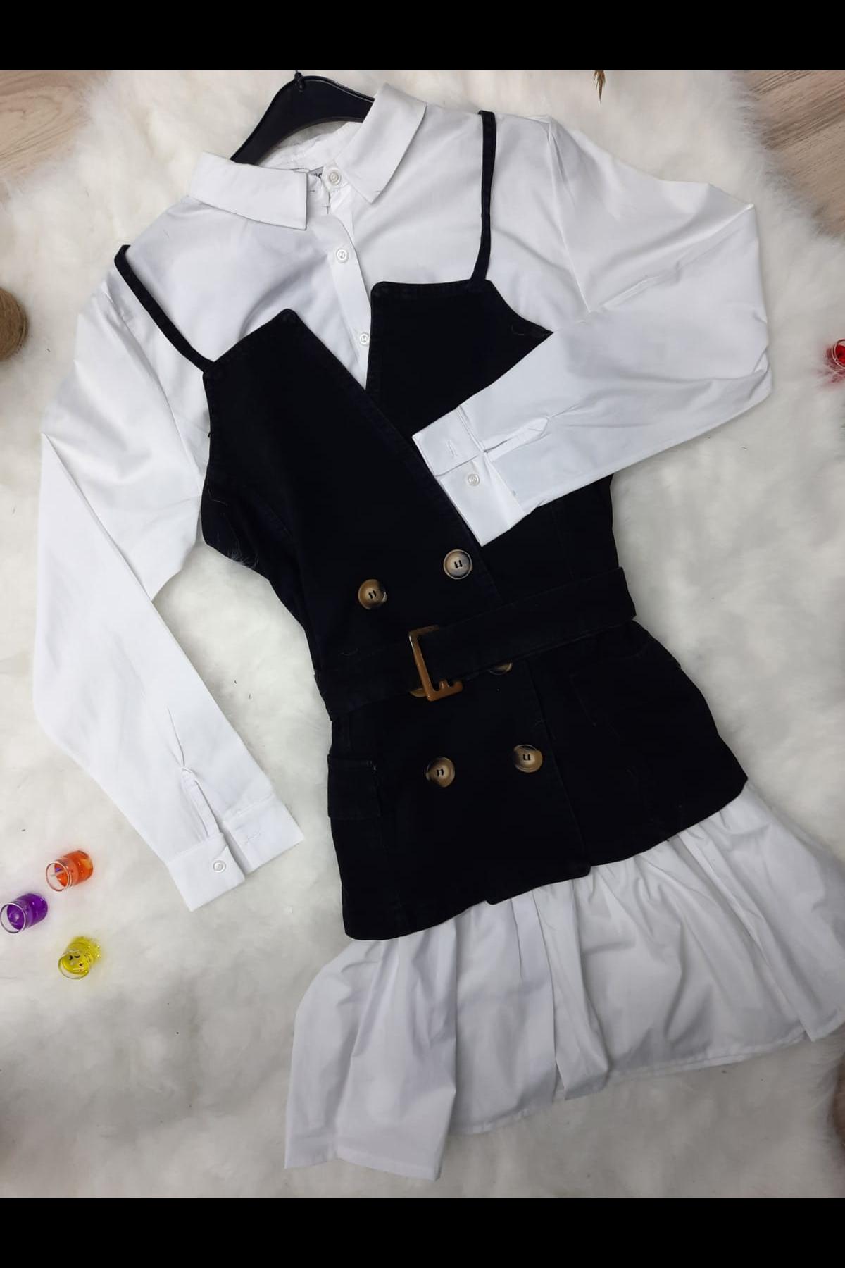 Jean Kombinli Gömlek Elbise - SİYAH