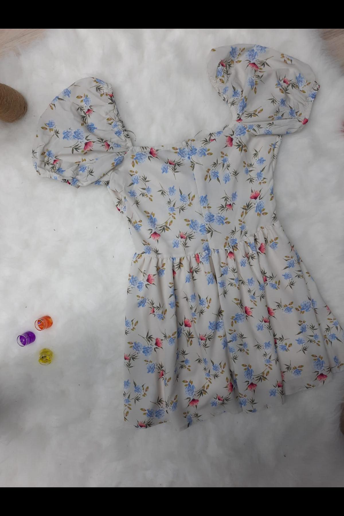 Boyun Askılı Dijital Baskılı Elbise - BEYAZ