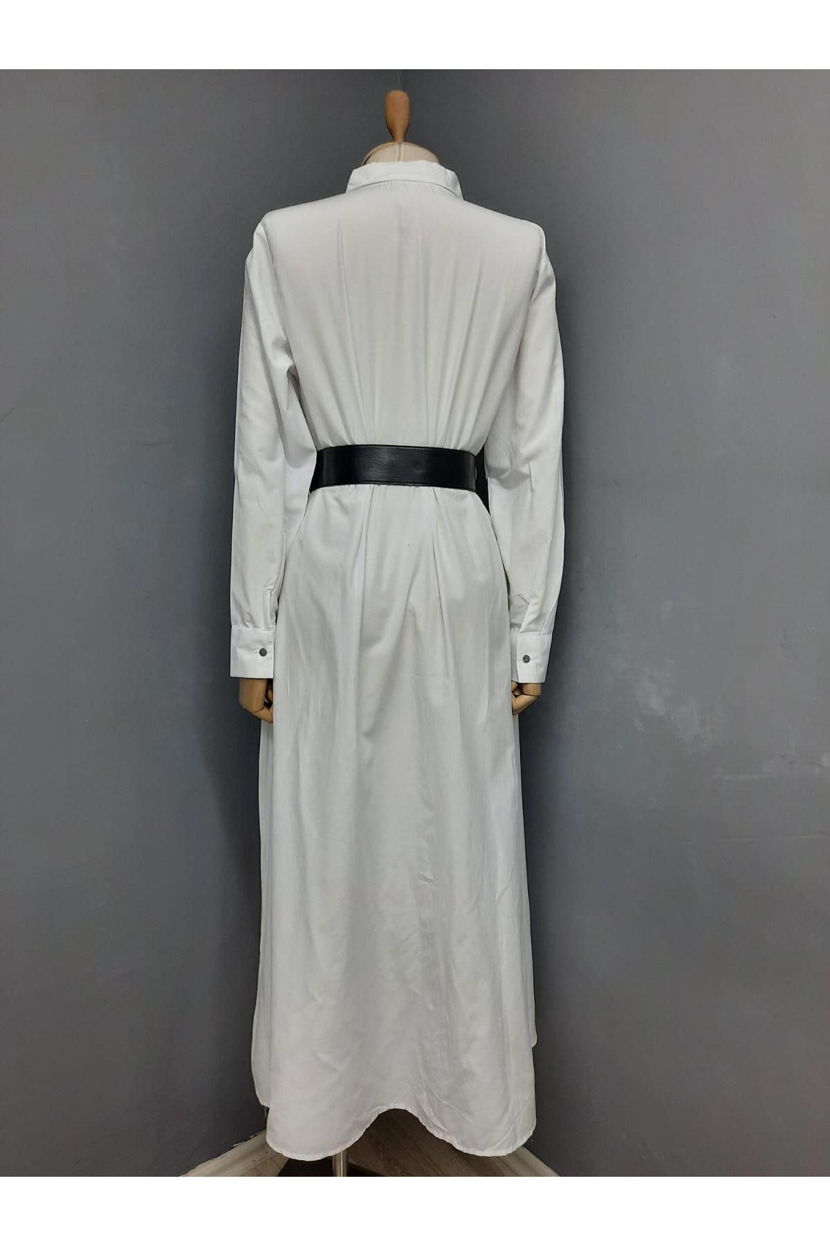 Kemer Detaylı Gömlek Elbise - BEYAZ