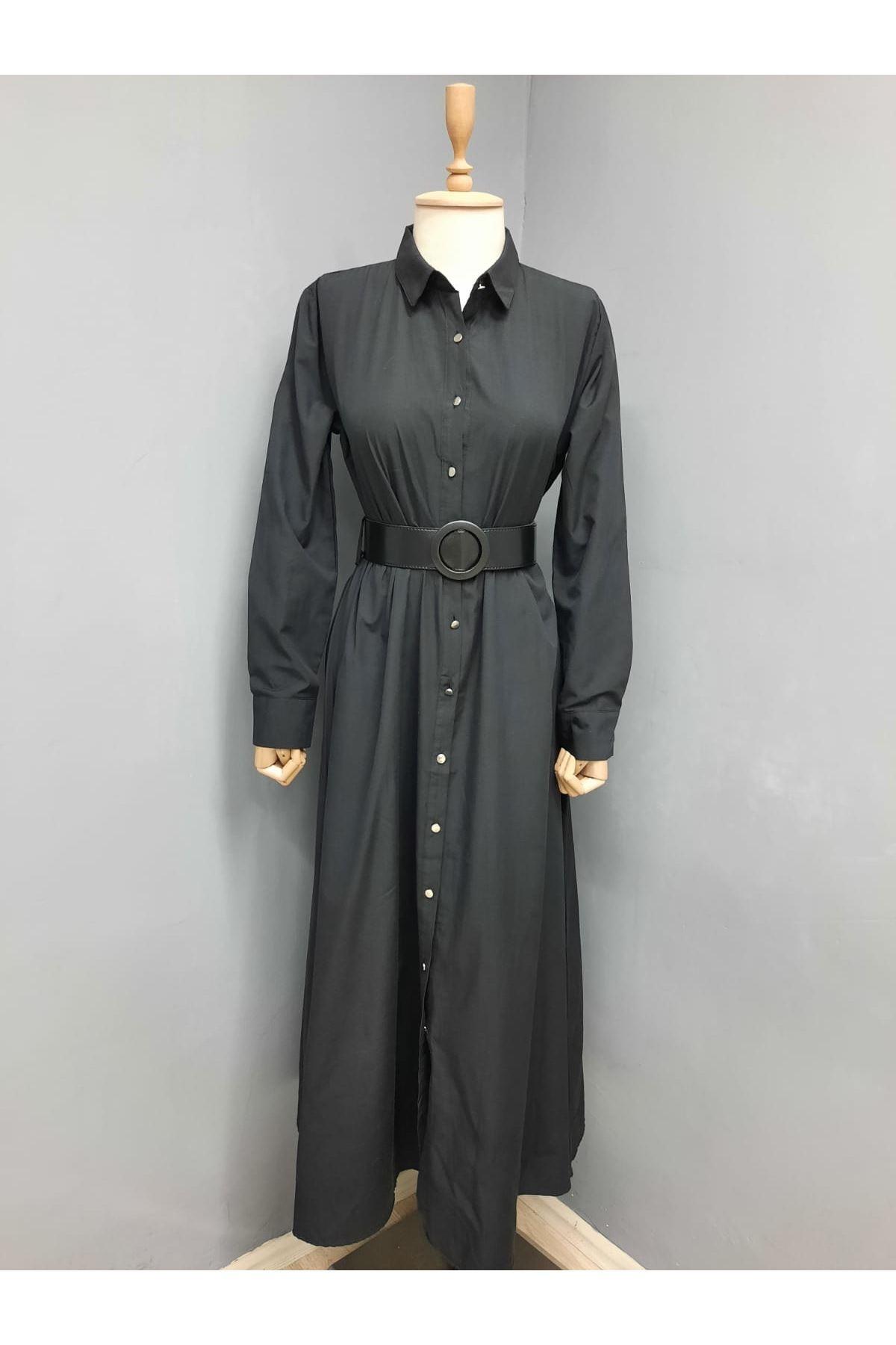 Kemer Detaylı Gömlek Elbise - SİYAH