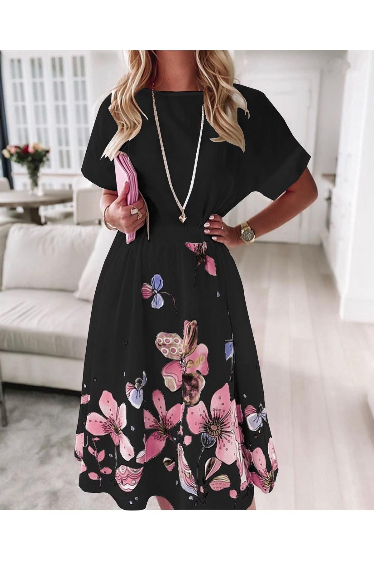 Çiçek Baskılı İthal Ottom Midiboy Elbise - SİYAH