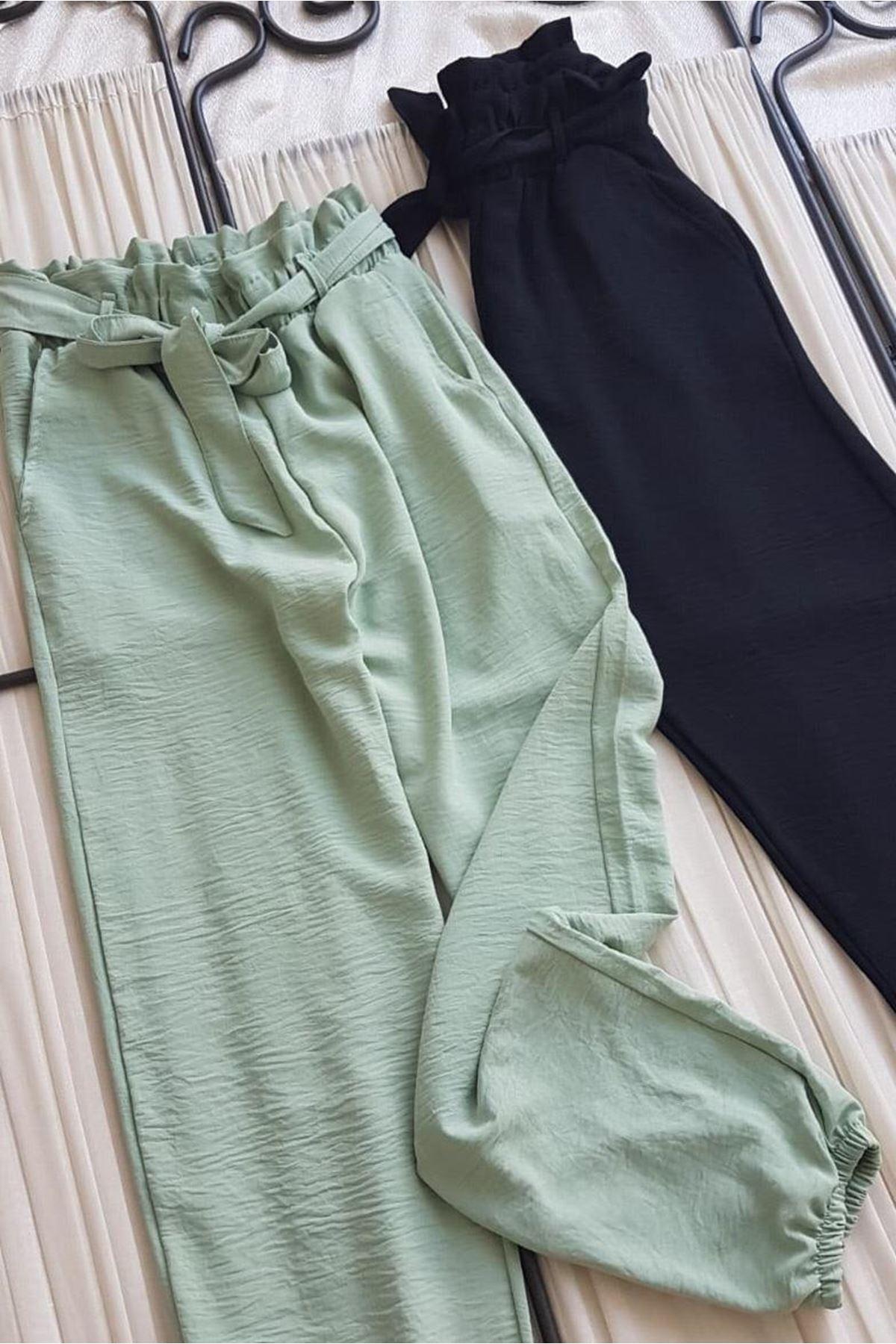 Kuşak Detaylı Jogger Pantolon - MİNT