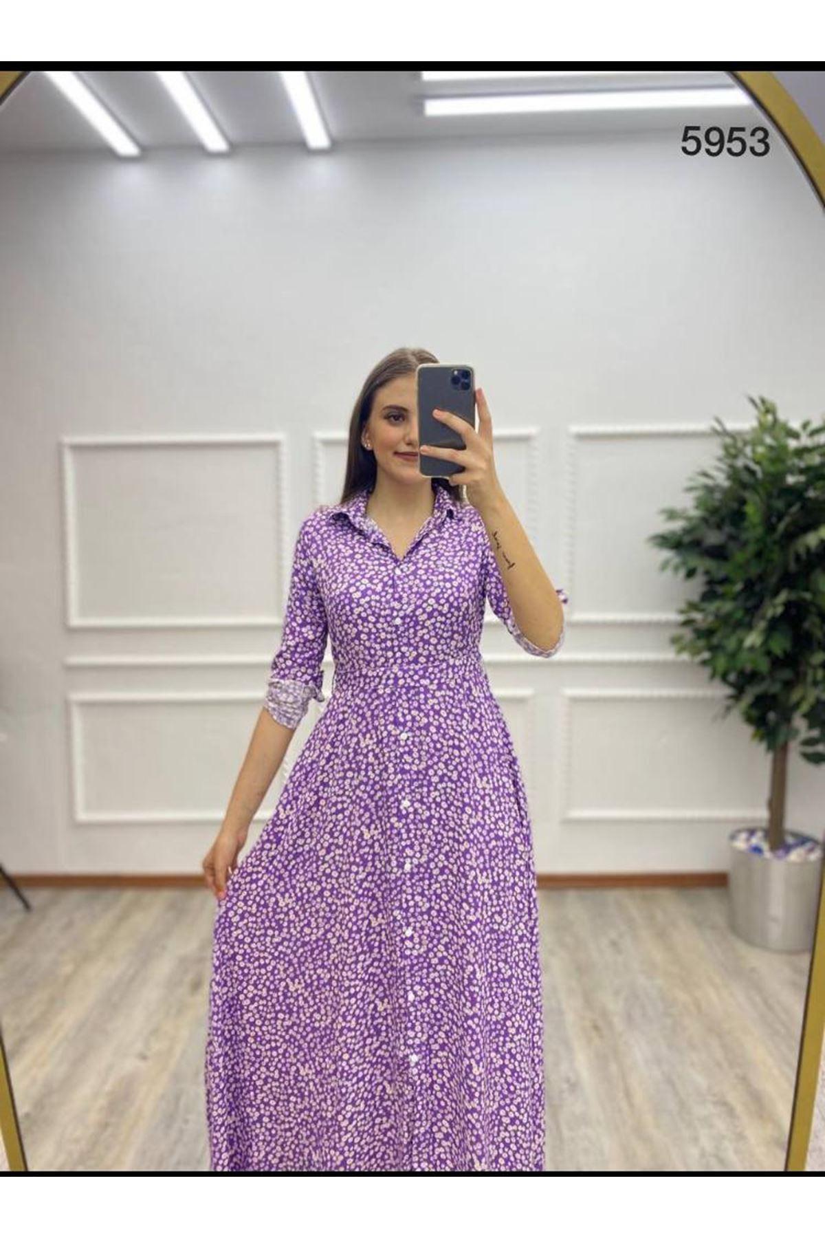 Çiçek Desen Uzun Gömlek Elbise - MOR