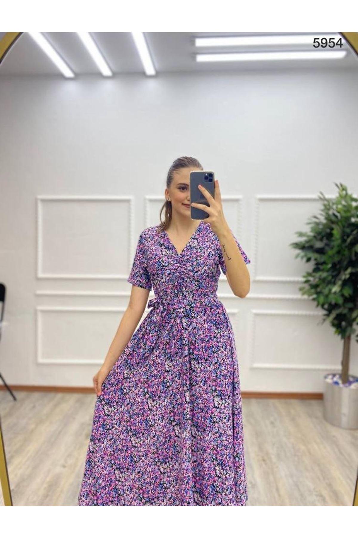 Çiçek Desen Kuşaklı Rahat Elbise - MOR