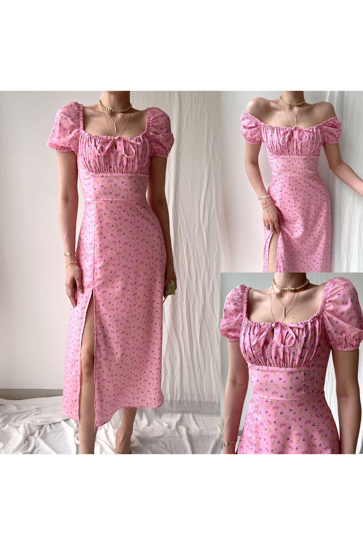 U Yaka Yırtmaç Detaylı Elbise - PUDRA