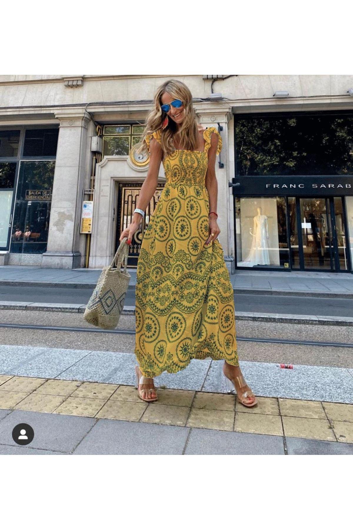 Otantik Desen Omuz Bağlamalı Elbise  - SARI