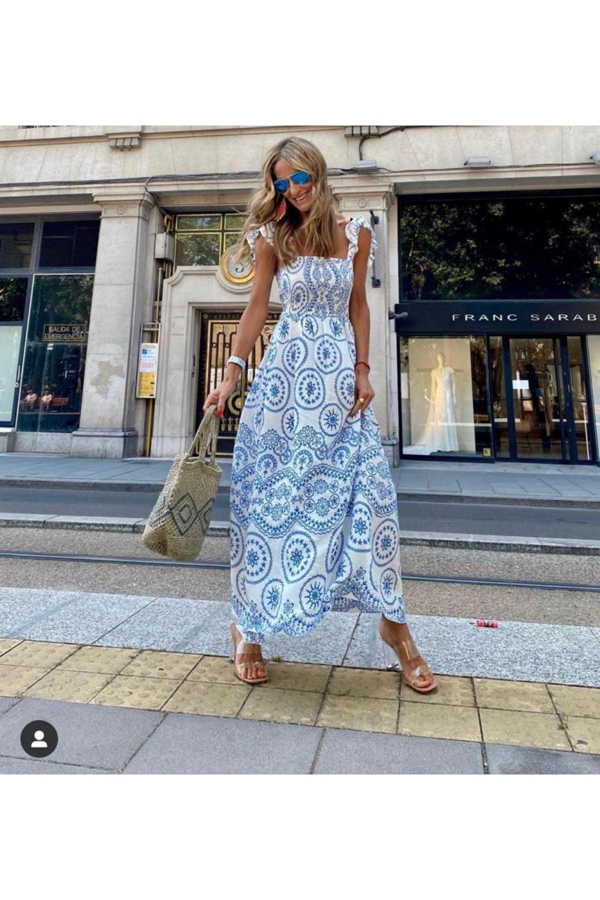 Otantik Desen Omuz Bağlamalı Elbise  - BEYAZ