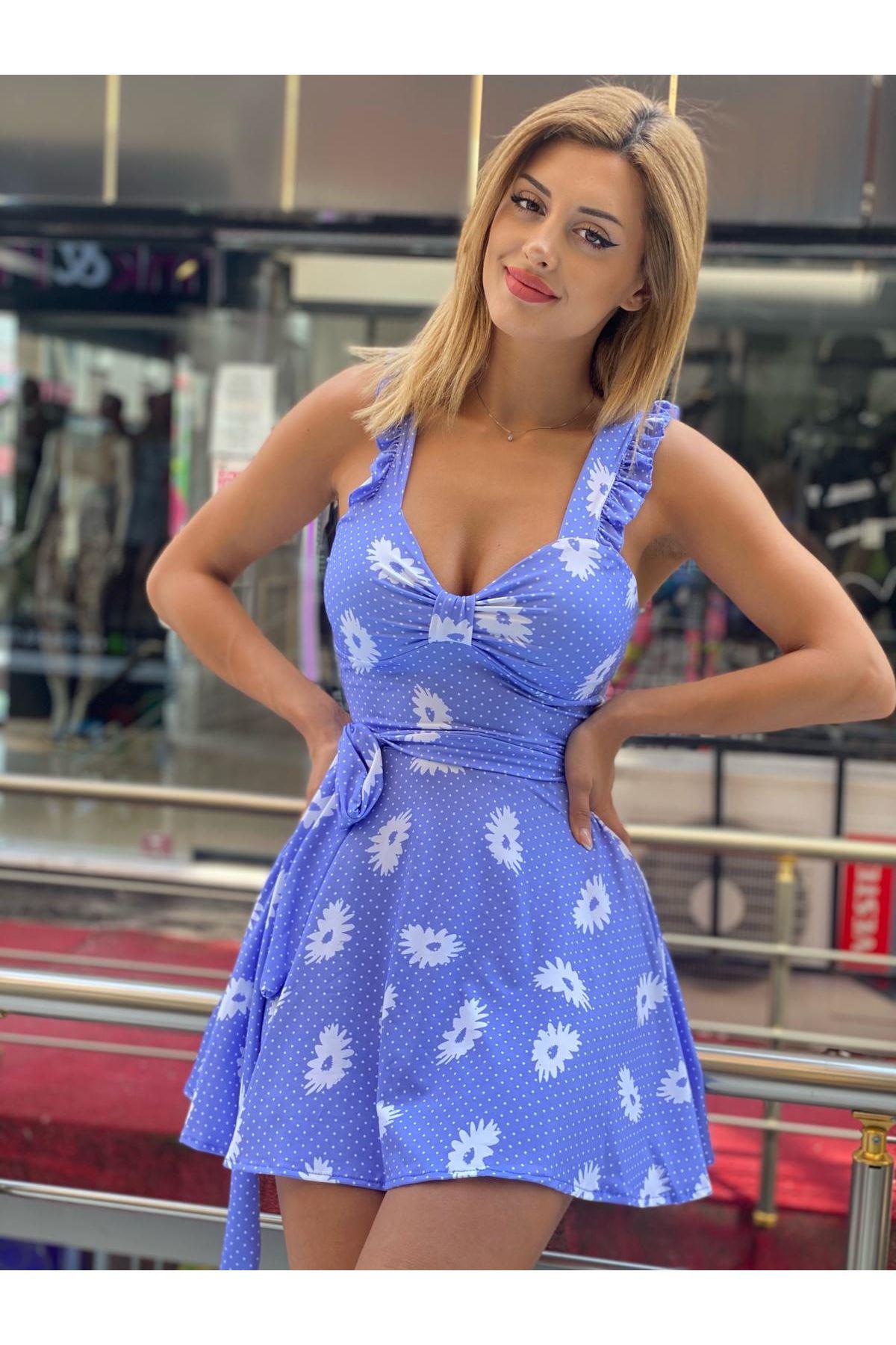 Dijital Baskılı Papatya Desen Mini Elbise - MAVİ