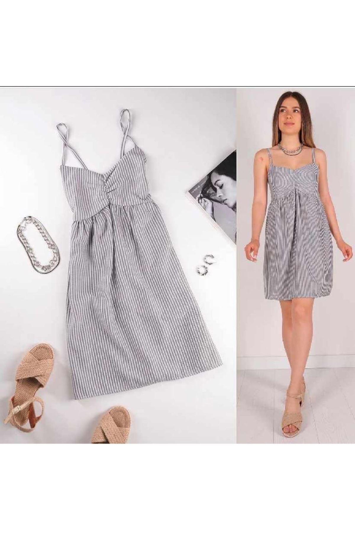 Askılı Çizgi Desen Midiboy Elbise - GRİ