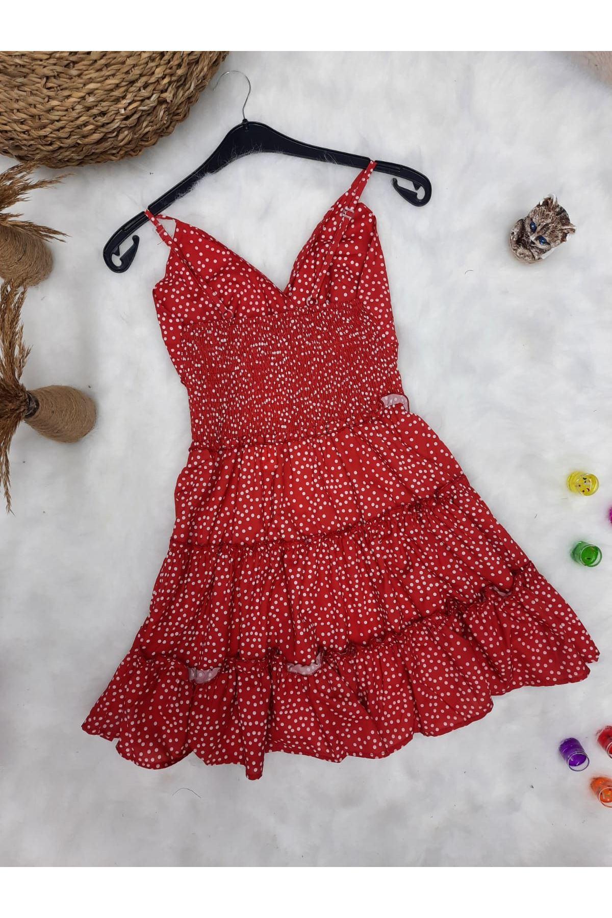 Puan Desen Askılı Mini Elbise - KIRMIZI