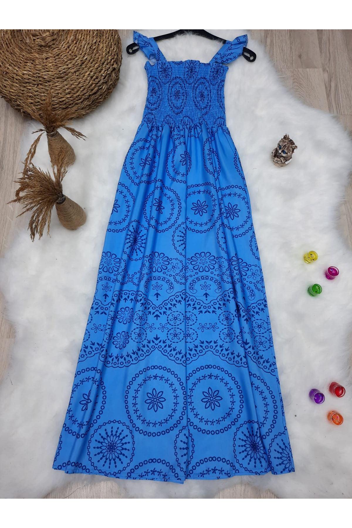 Otantik Desen Omuz Bağlamalı Elbise  - MAVİ