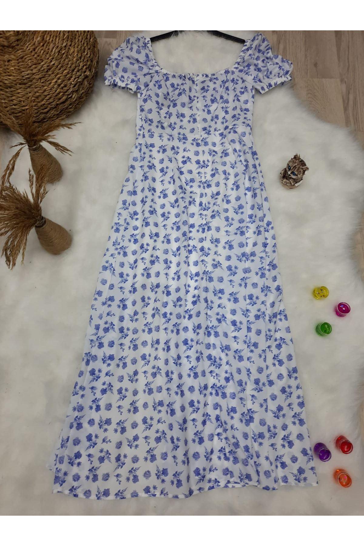 U Yaka Yırtmaç Detaylı Elbise - BEYAZ