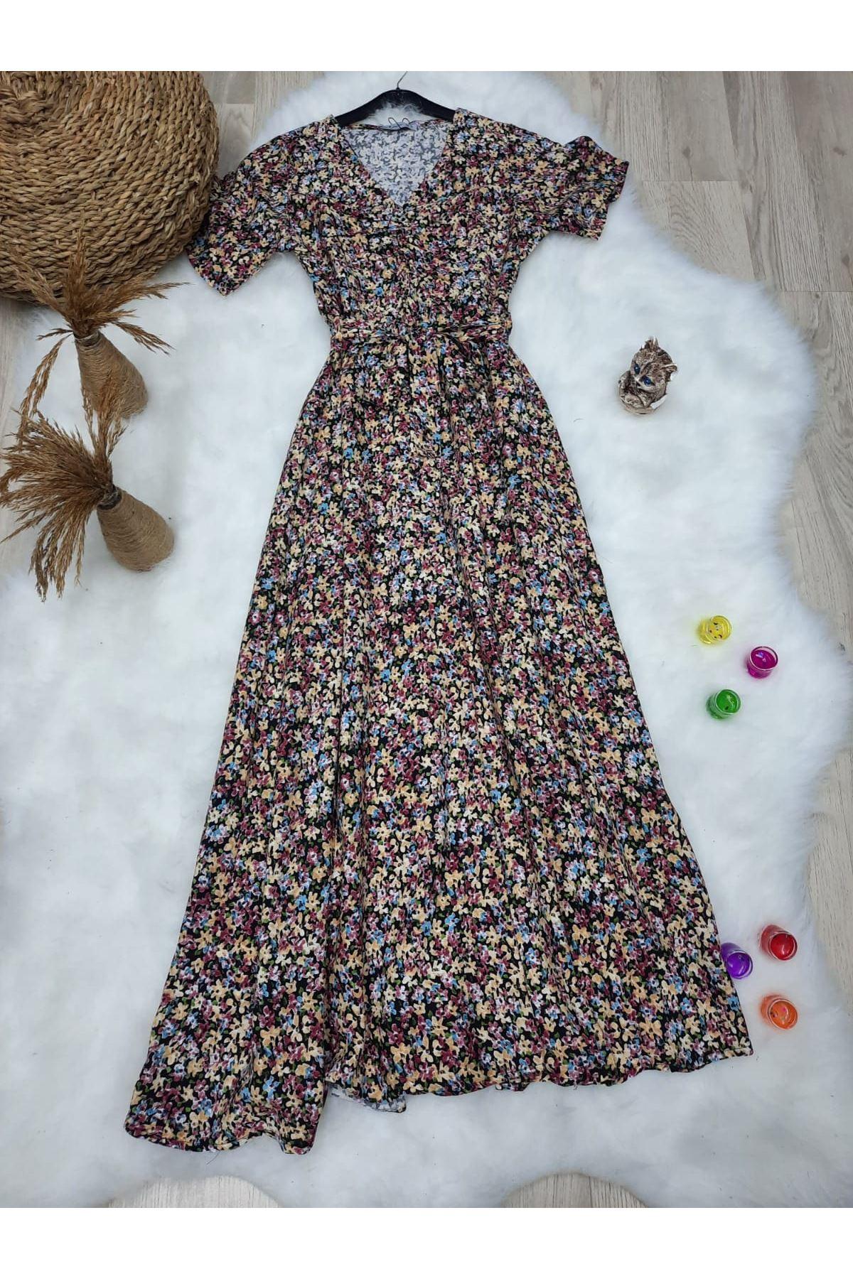 Çiçek Desen Kuşaklı Rahat Elbise - MULTİ