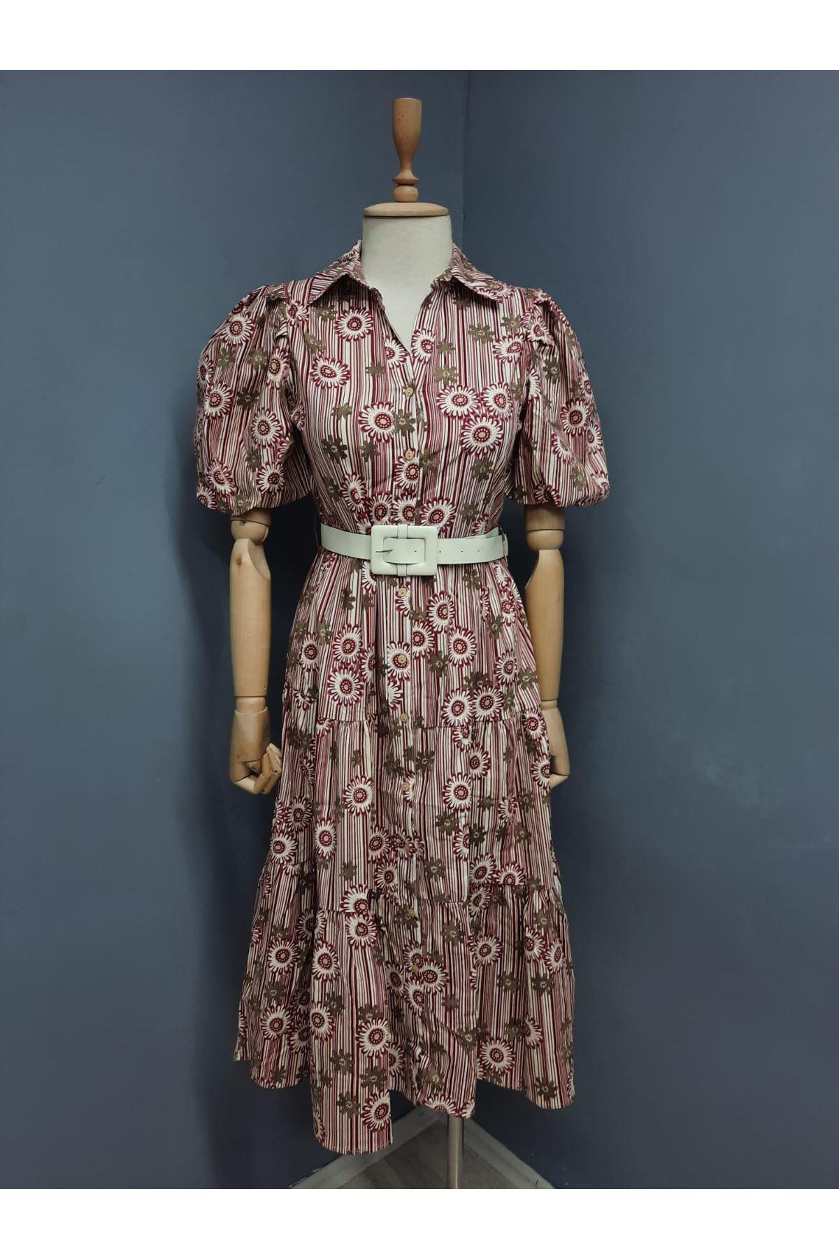 Çiçek Desen Likralı Gömlek Elbise - Multi