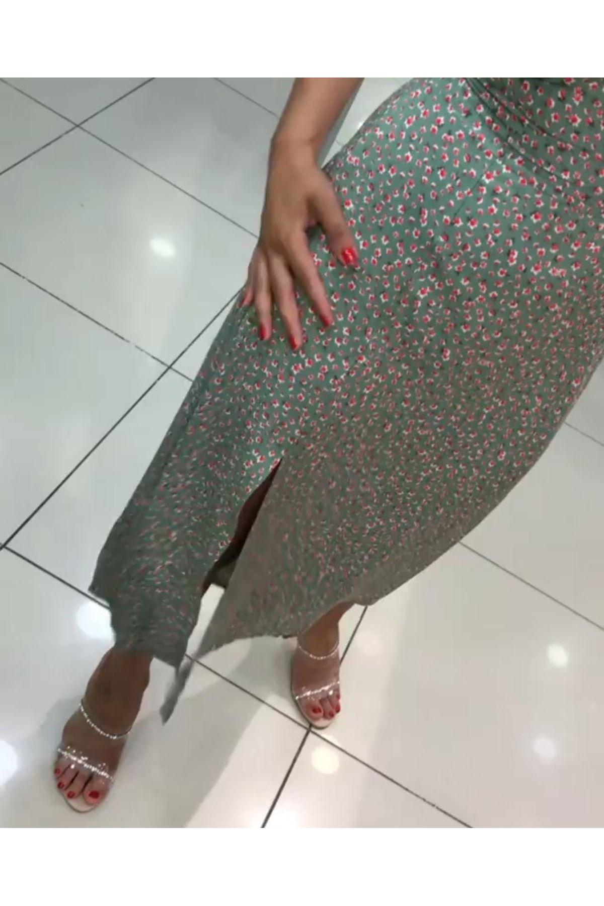 Çıtır Desen Yırtmaçlı Viscon Elbise - YEŞİL