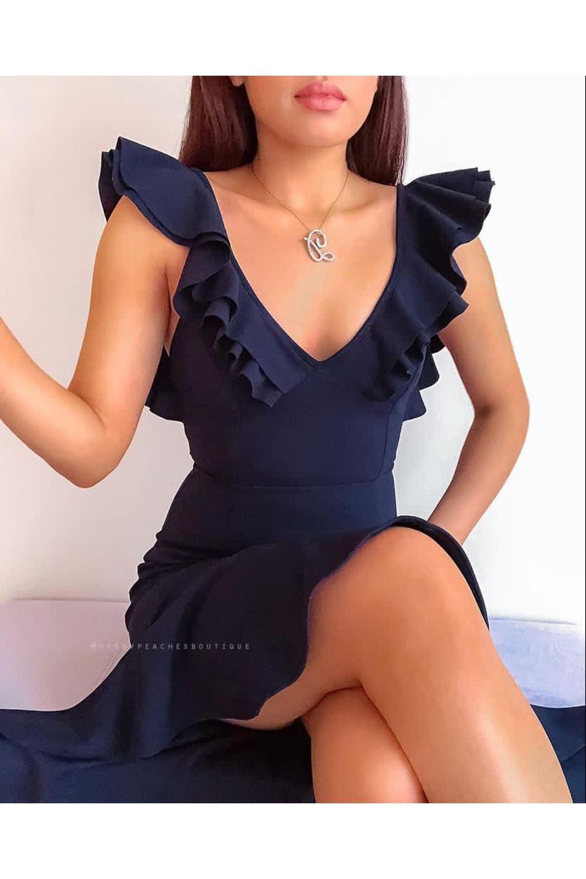 Yaka Volan Detaylı Sırt Çaprazlı Elbise - LACİ
