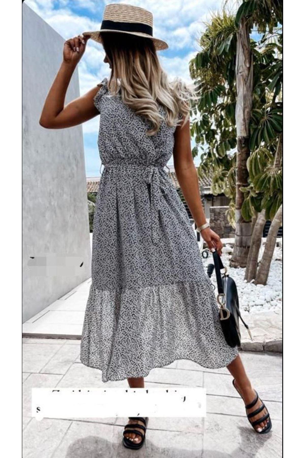 Çıtır Desenli Astarlı Şifon Elbise - FÜME