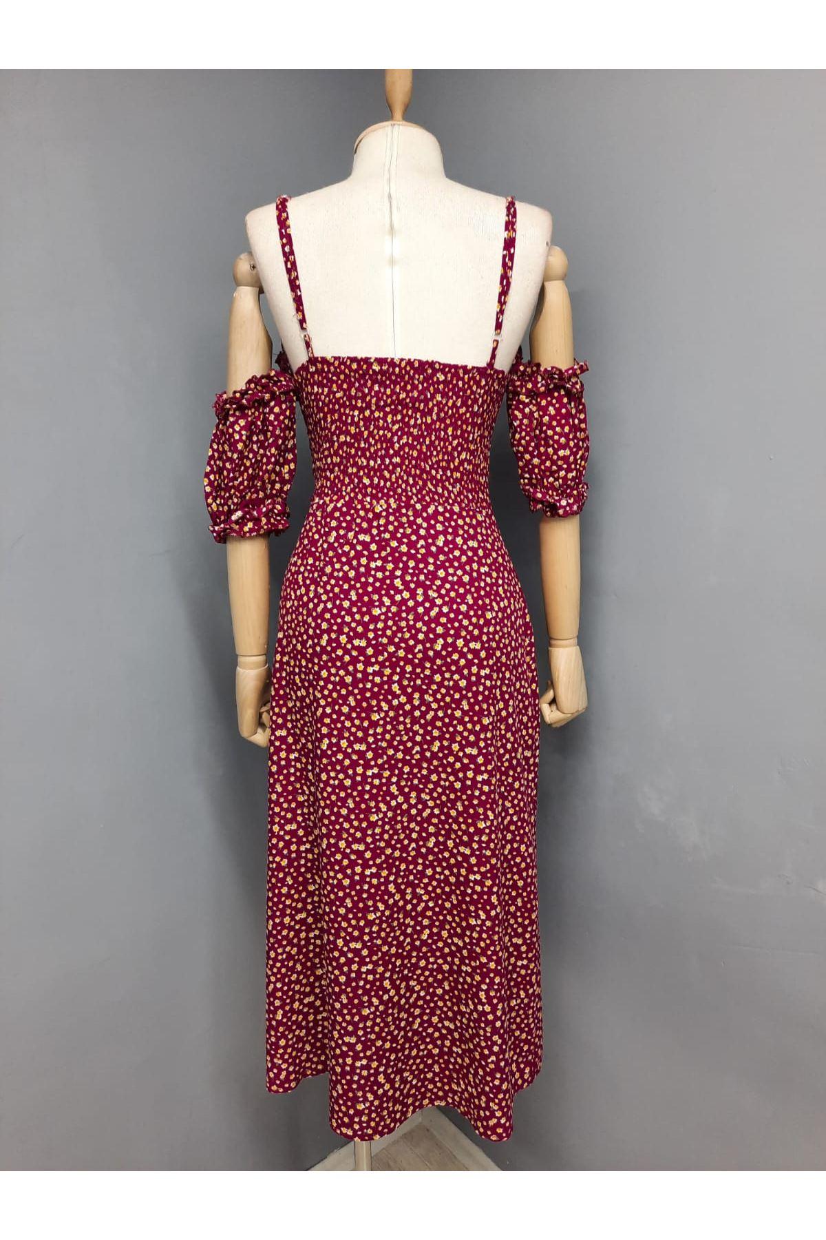 Yırtmaç Detaylı Askılı Elbise - BORDO