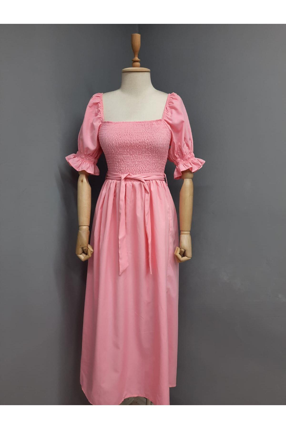 U Yaka Gipeli Prenses Omuz Elbise - PUDRA