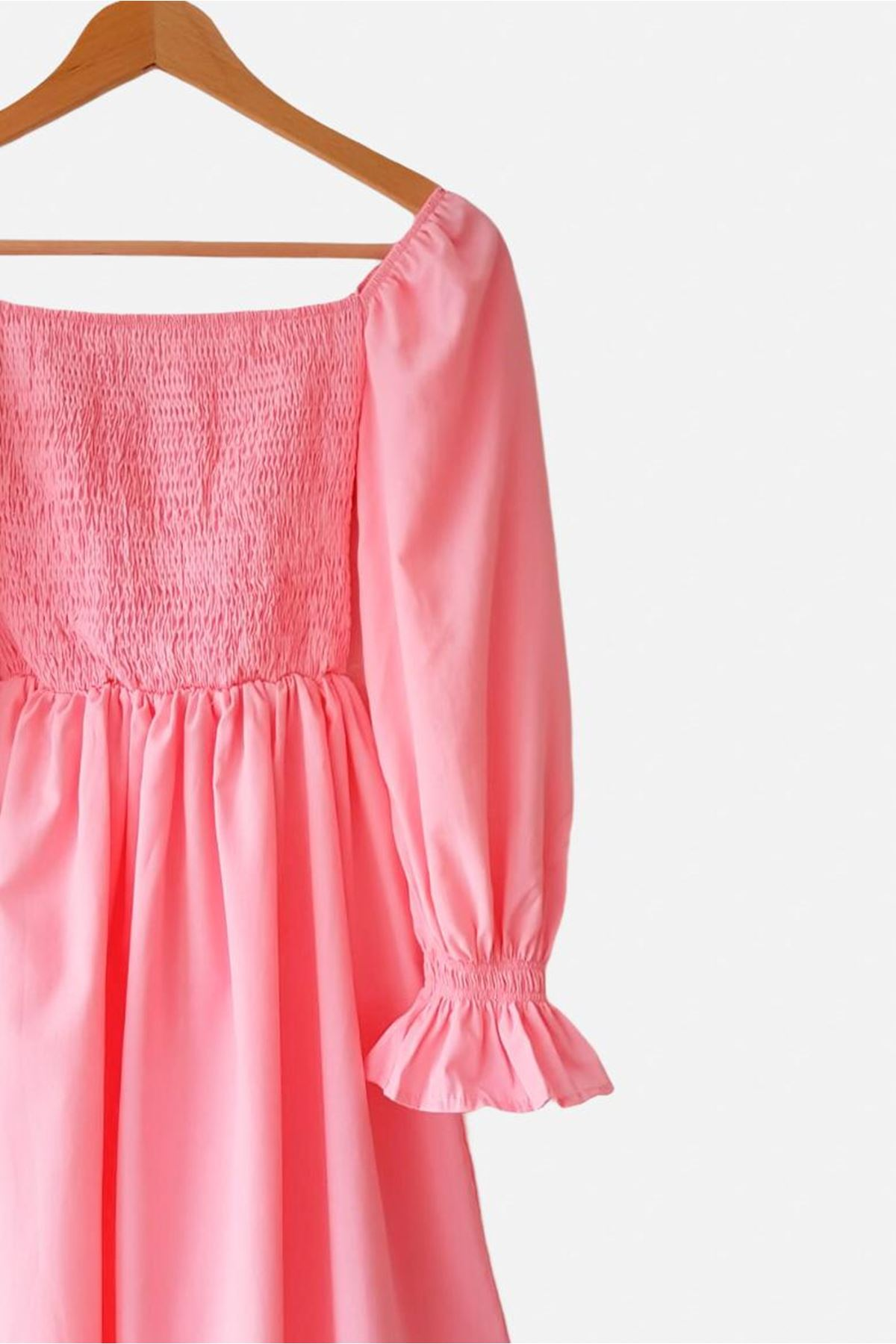U yaka Prenses Omuz Gipeli Elbise - PUDRA