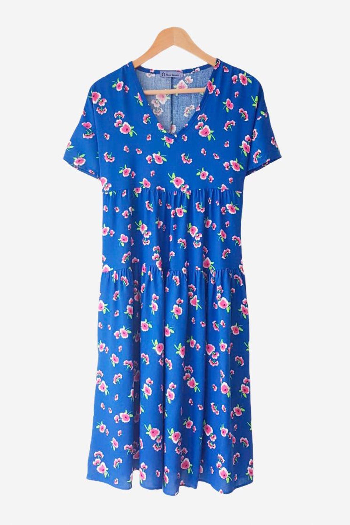 Çiçek Desen V Yaka Elbise - MAVİ
