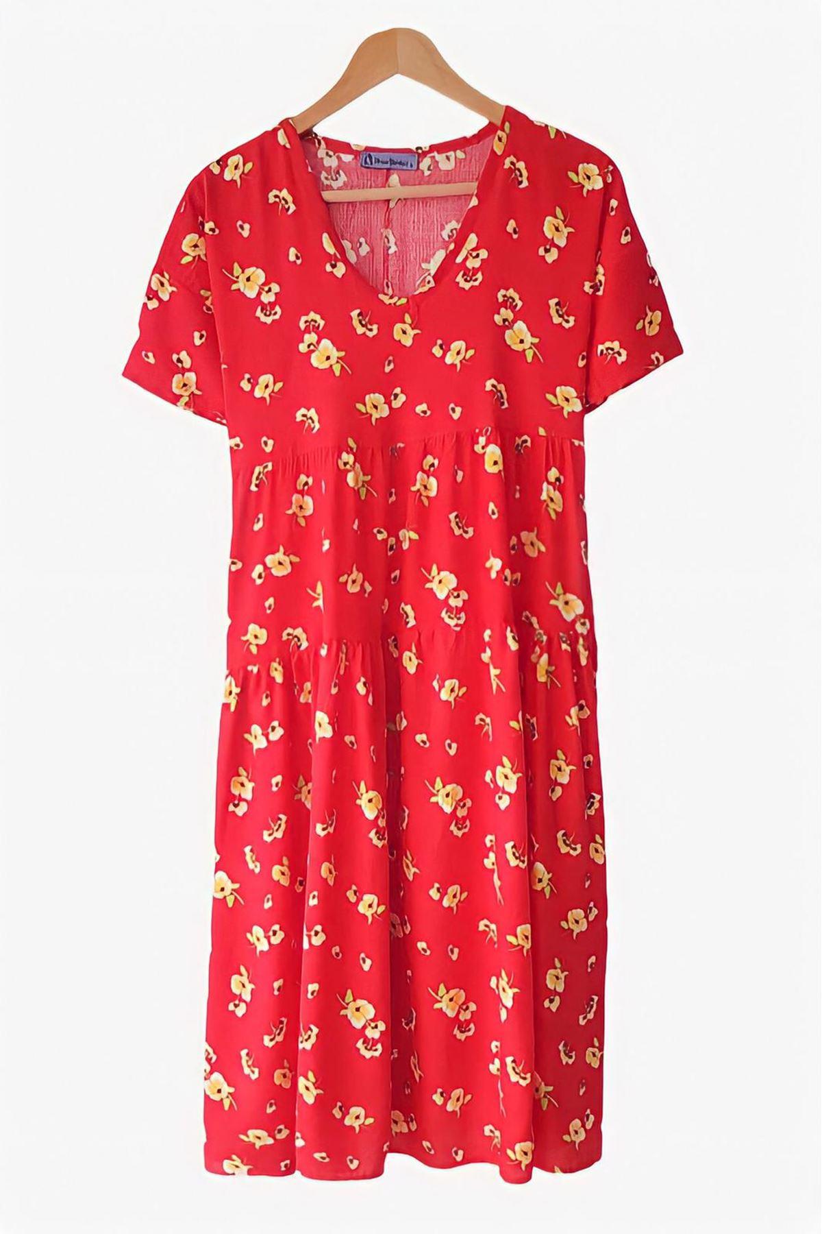 Çiçek Desen V Yaka Elbise - KIRMIZI