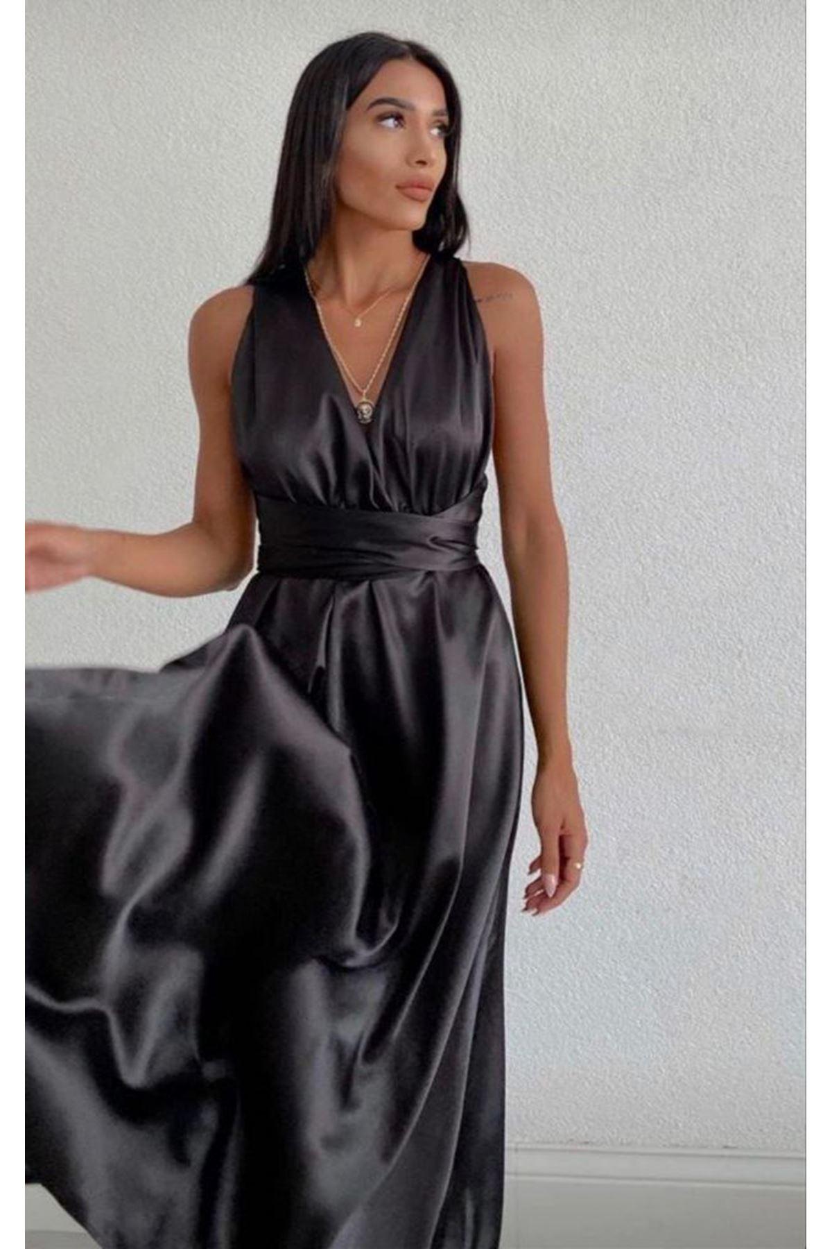 Sırt Bağlamalı Saten Elbise- SİYAH