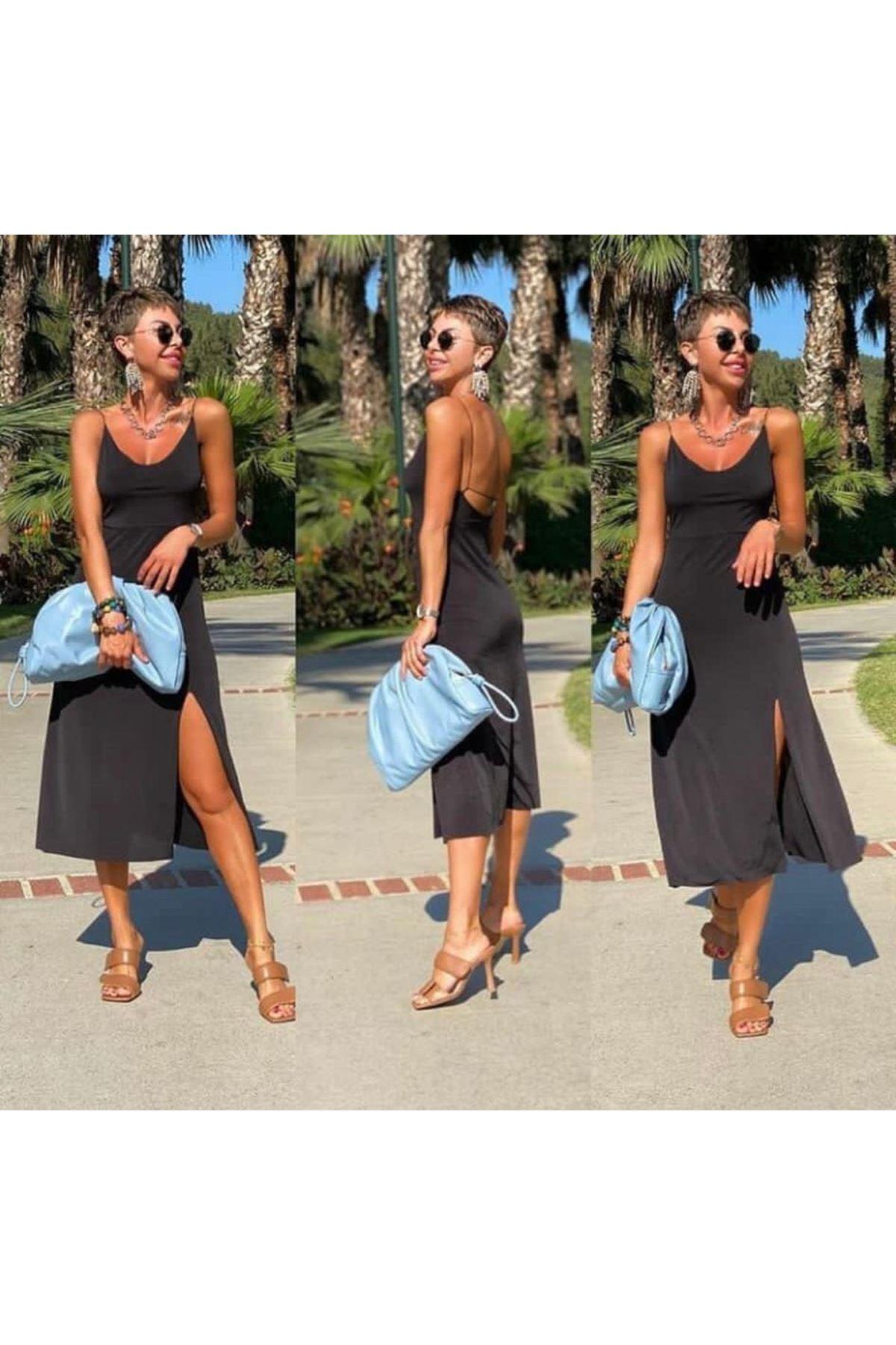 Yırtmaç Detaylı Askılı Sandy Elbise - SİYAH
