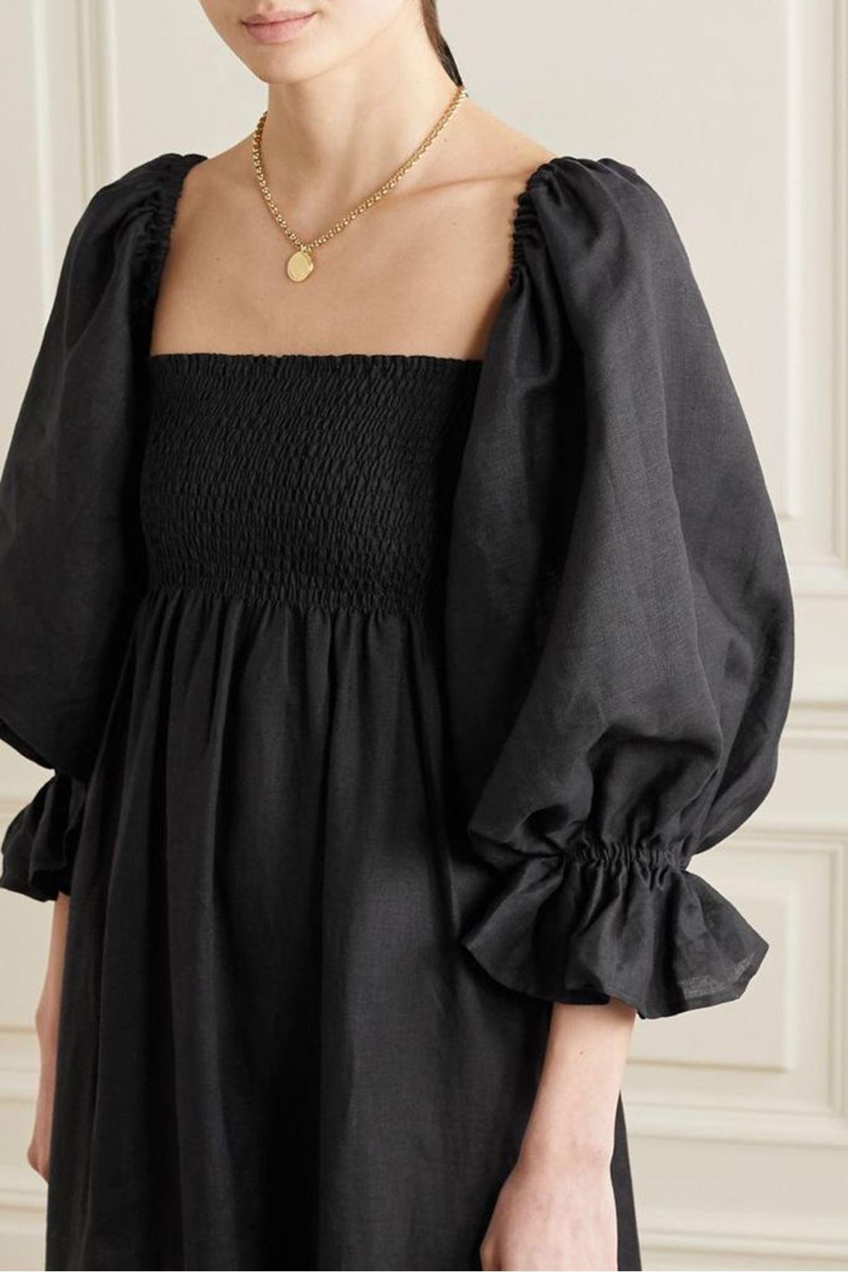 U yaka Prenses Omuz Gipeli Elbise - SİYAH