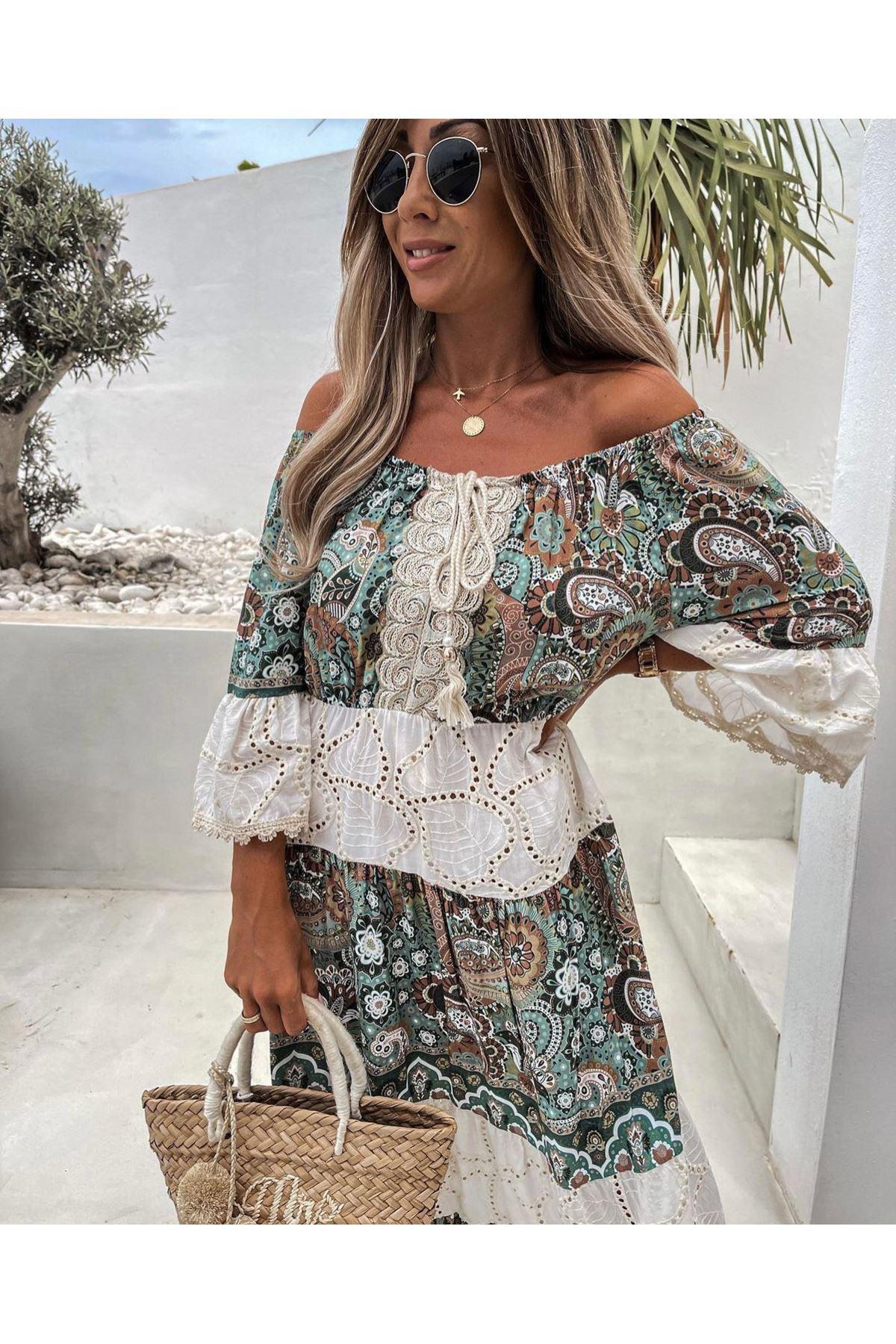 Otantik Desen Fisto Detaylı Elbise - HAKİ